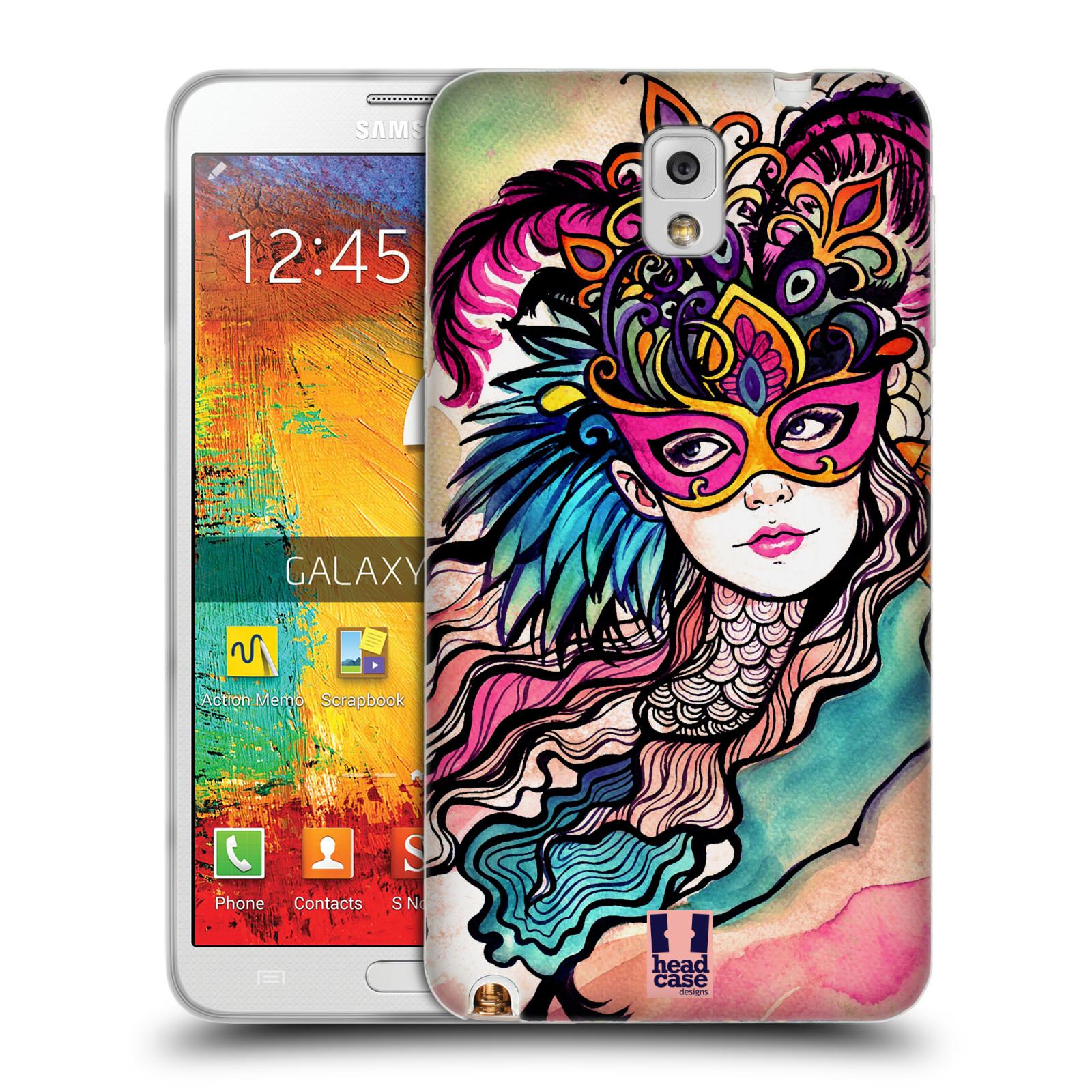 HEAD CASE silikonový obal na mobil Samsung Galaxy Note 3 (N9005) vzor Maškarní ples masky kreslené vzory růžová