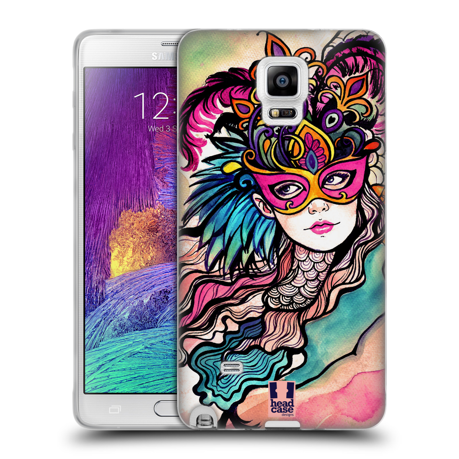 HEAD CASE silikonový obal na mobil Samsung Galaxy Note 4 (N910) vzor Maškarní ples masky kreslené vzory růžová