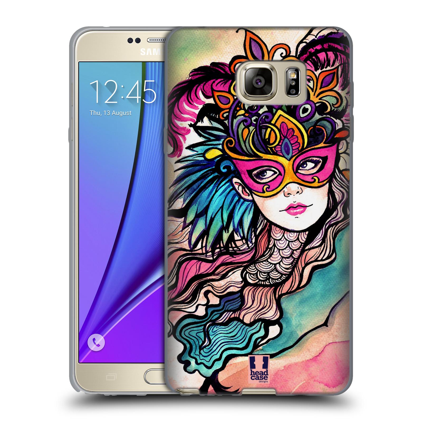HEAD CASE silikonový obal na mobil Samsung Galaxy Note 5 (N920) vzor Maškarní ples masky kreslené vzory růžová