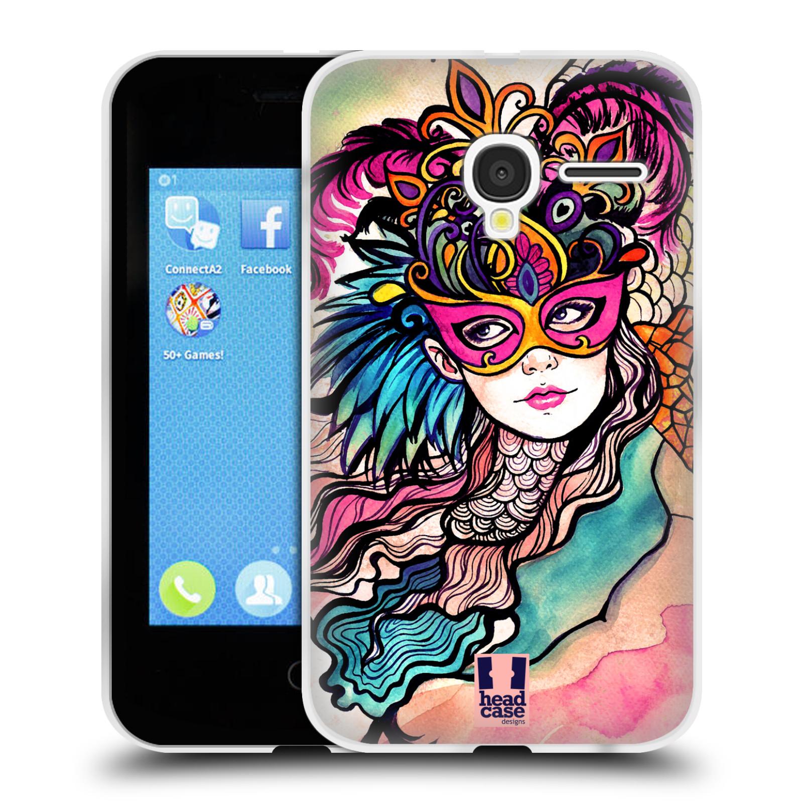 HEAD CASE silikonový obal na mobil Alcatel PIXI 3 OT-4022D (3,5 palcový displej) vzor Maškarní ples masky kreslené vzory růžová