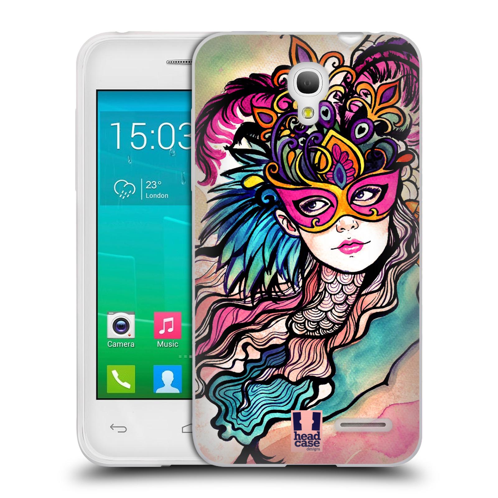 HEAD CASE silikonový obal na mobil Alcatel POP S3 OT-5050Y vzor Maškarní ples masky kreslené vzory růžová