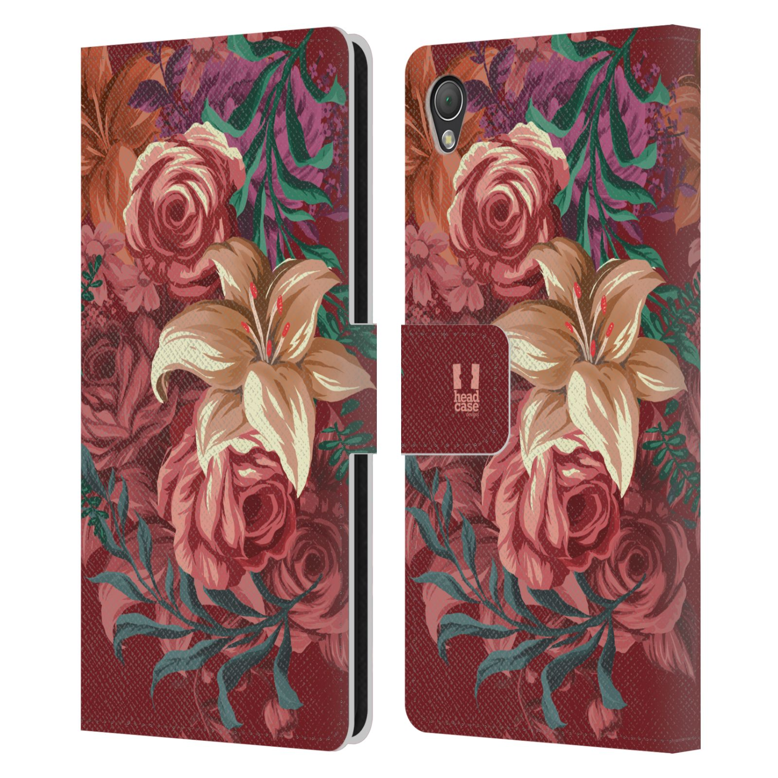 HEAD CASE DESIGNS MARSALA TRENDS LEATHER BOOK WALLET CASE FOR SONY PHONES 1