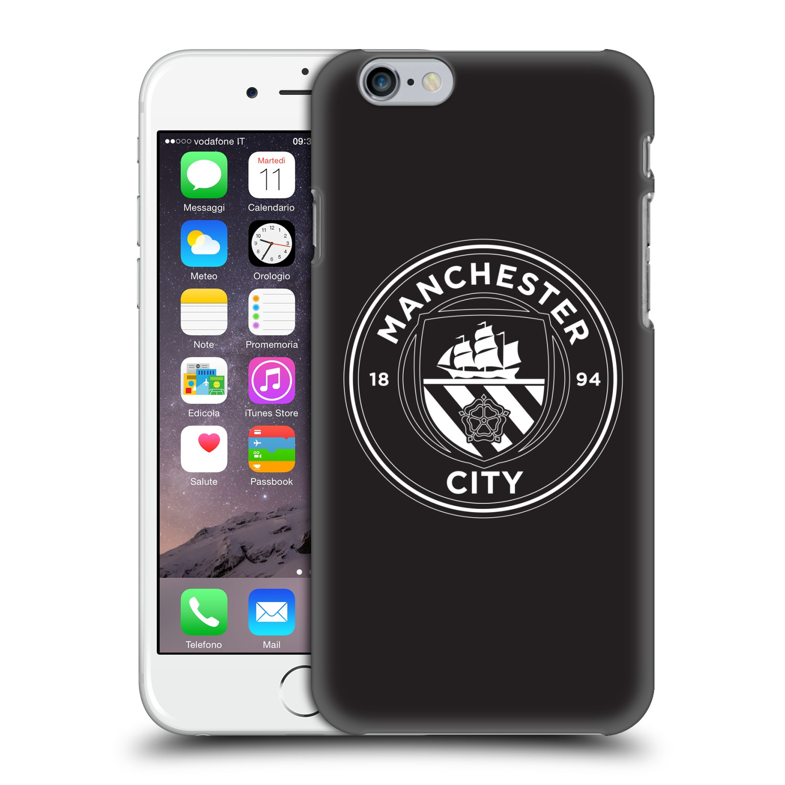 Manchester City FC MCFC Badge-Black White Mono