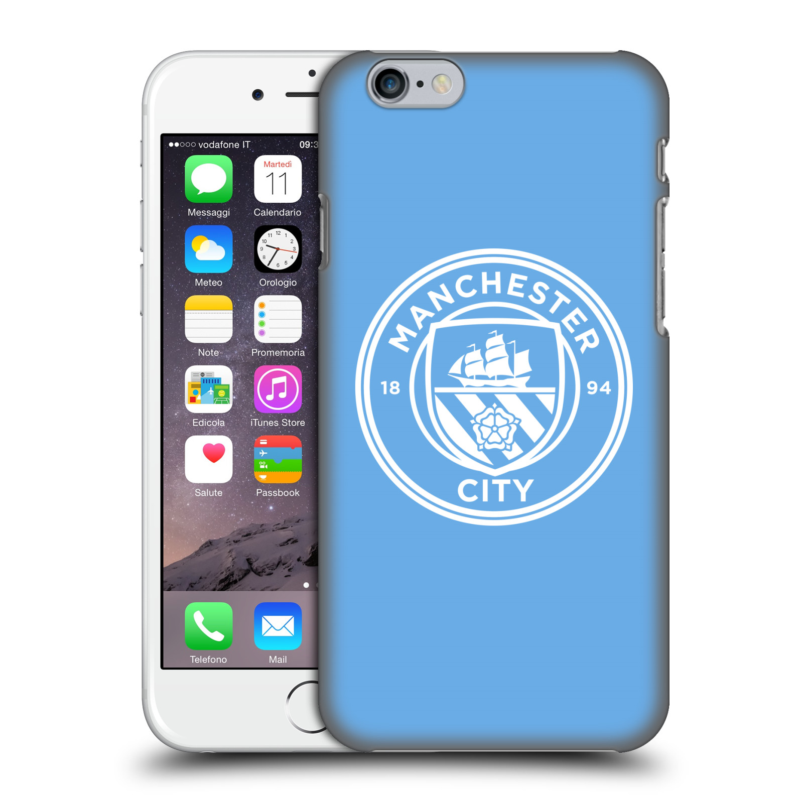 Manchester City FC MCFC Badge-Blue White Mono
