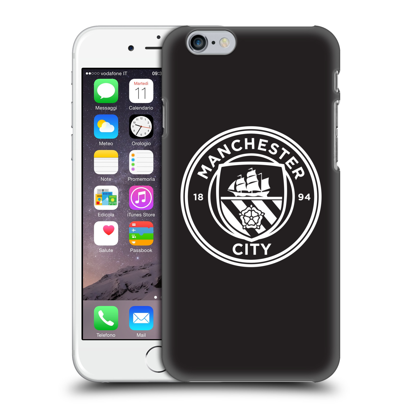 Manchester City FC MCFC Badge-Black White Outline