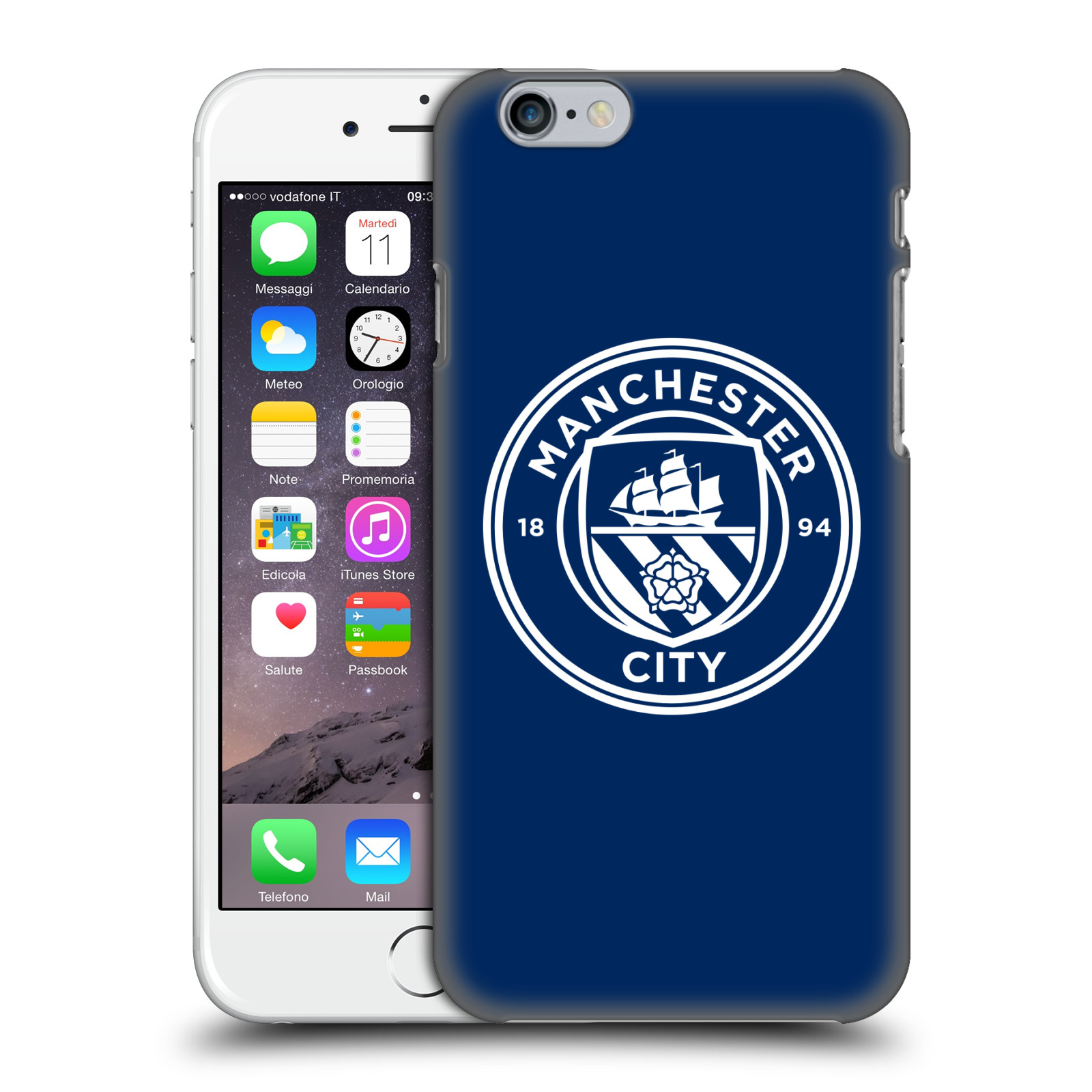 Manchester City FC MCFC Badge-Obsidian White Mono