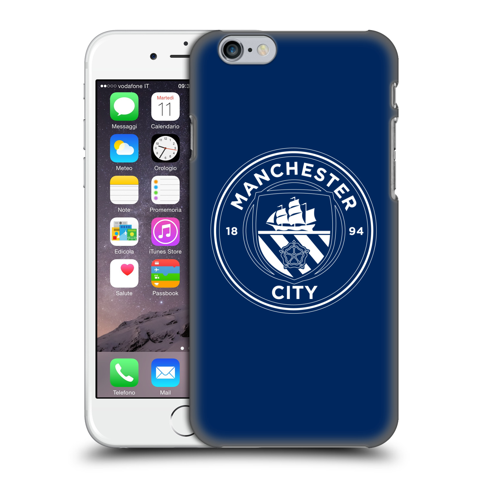 Manchester City FC MCFC Badge-Obsidian White Outline