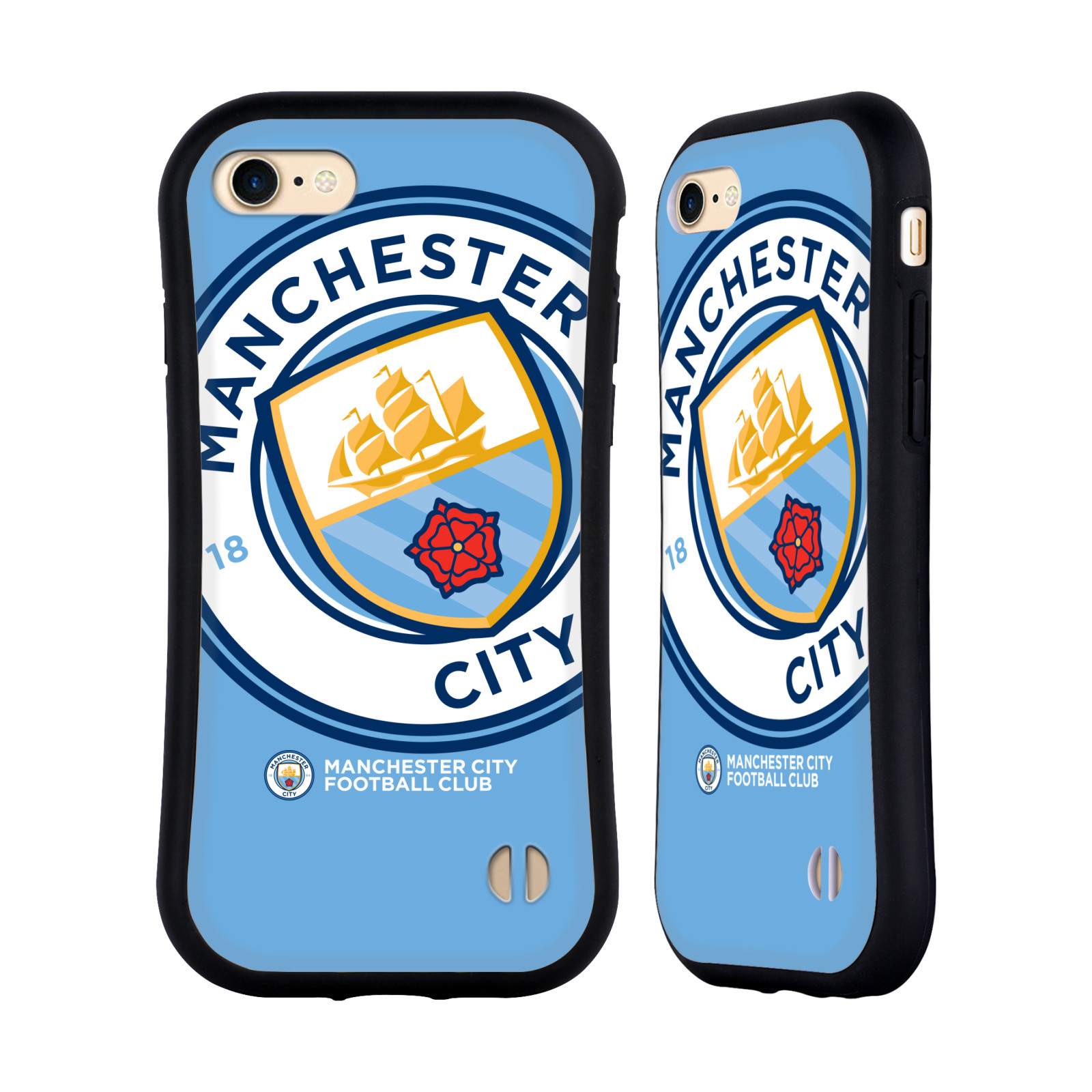 HEAD CASE odolný obal na mobil Apple Iphone 8 Fotbalový klub Manchester City modrý velký přesahující znak