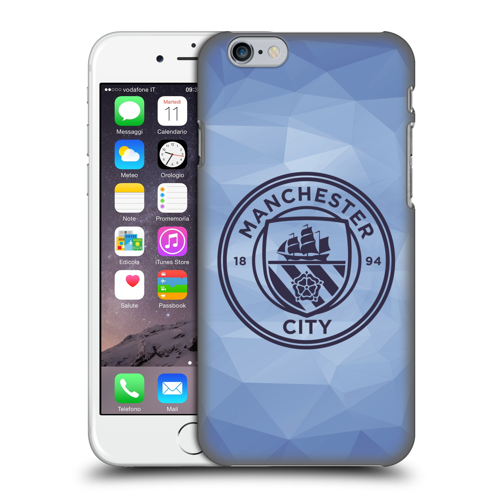 Manchester City FC MCFC Badge Geometric-Blue Obsidian Mono