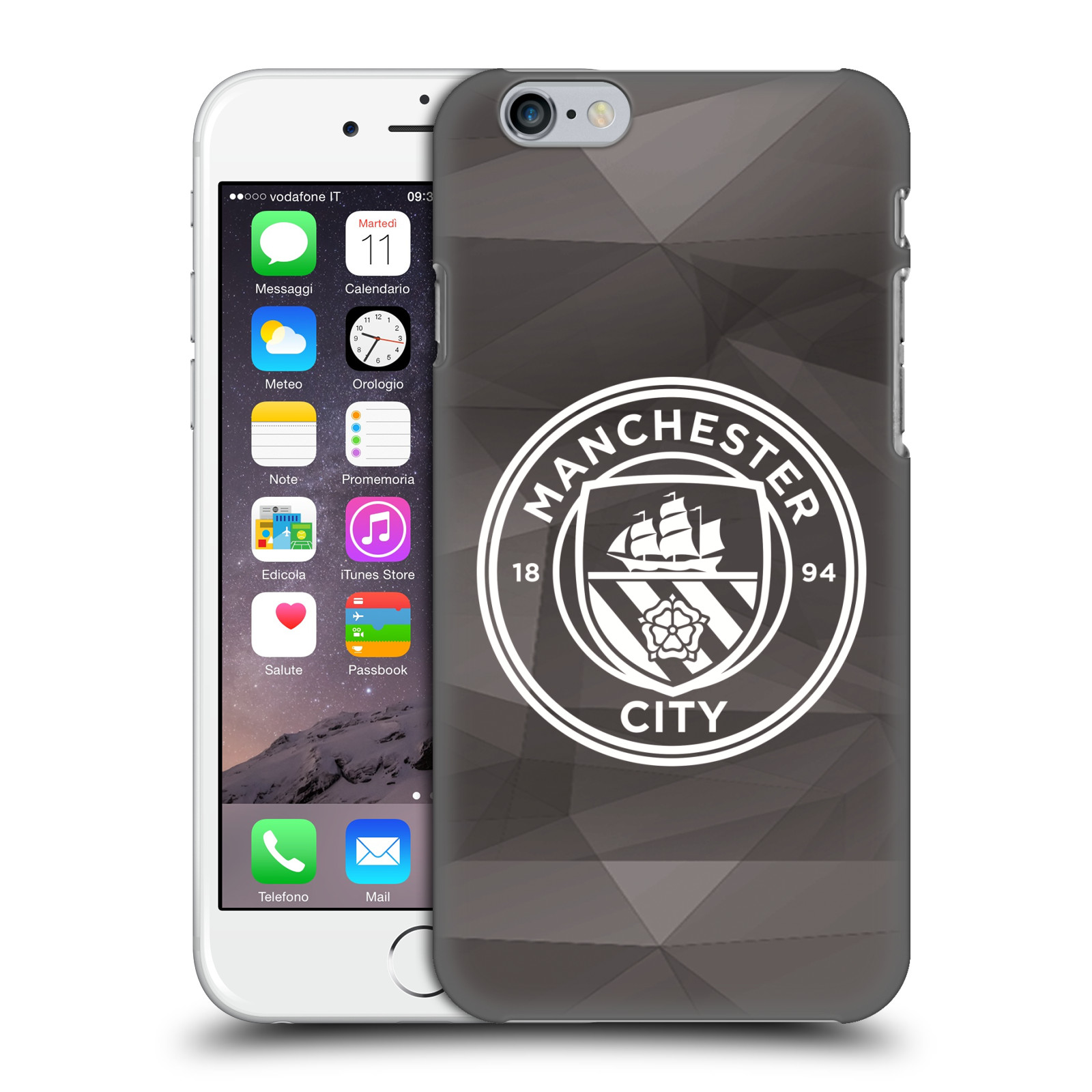 Manchester City FC MCFC Badge Geometric-Black White Mono
