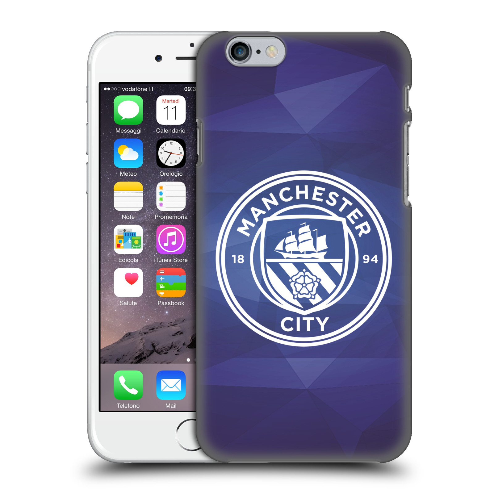 Manchester City FC MCFC Badge Geometric-Obsidian White Mono