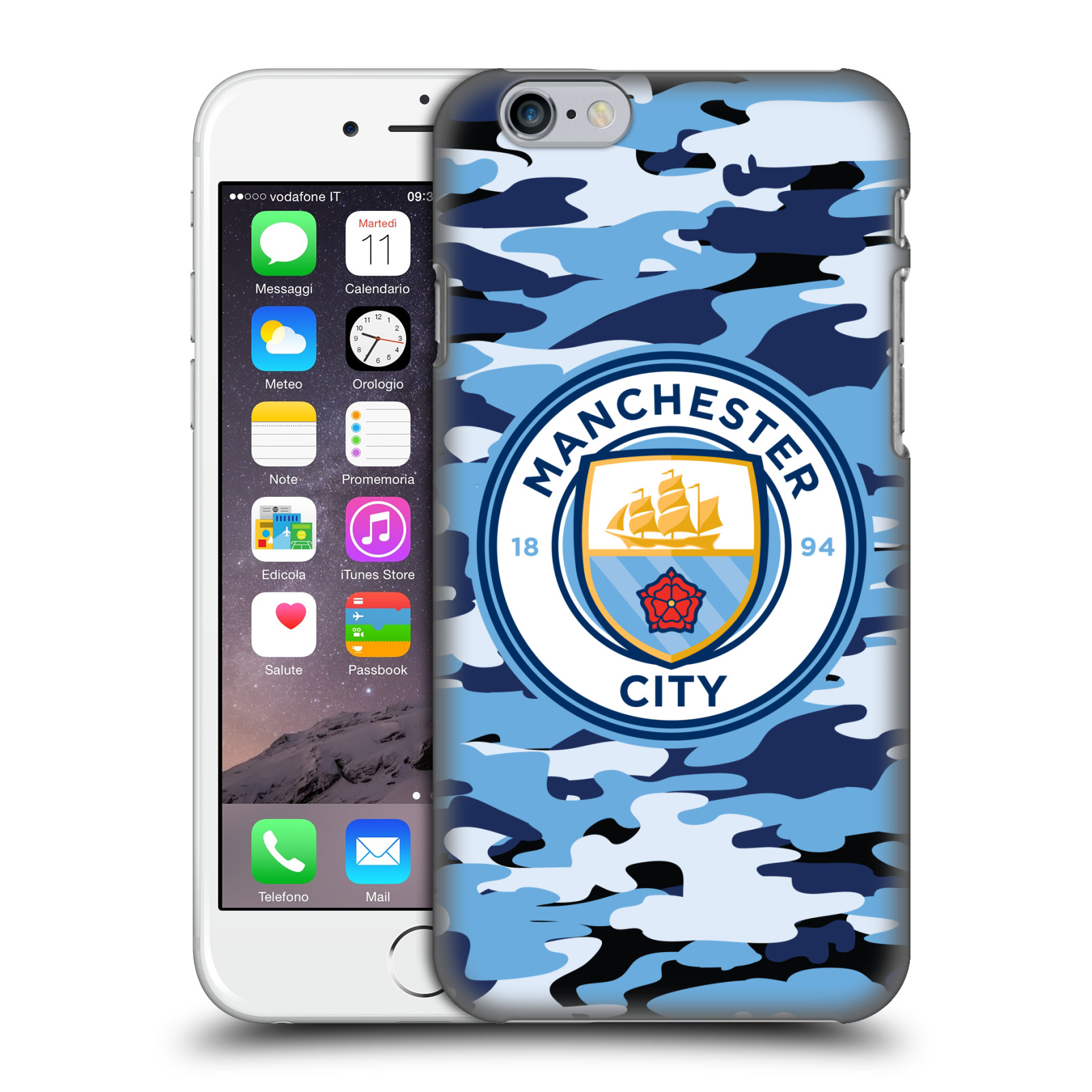 Manchester City FC MCFC Badge Camou-Blue Moon