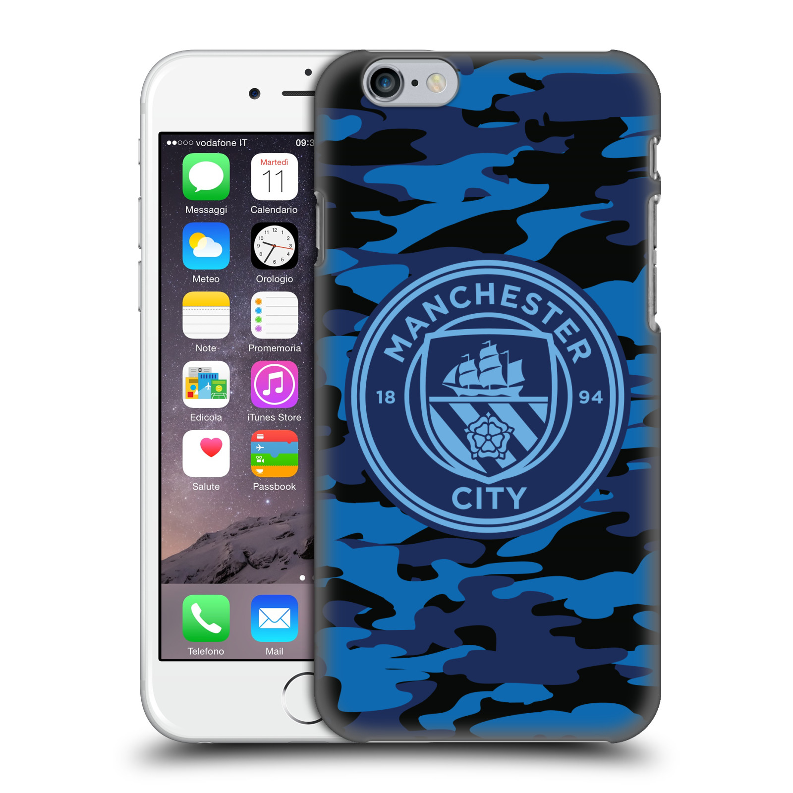 Manchester City FC MCFC Badge Camou-Dark Blue Moon Mono