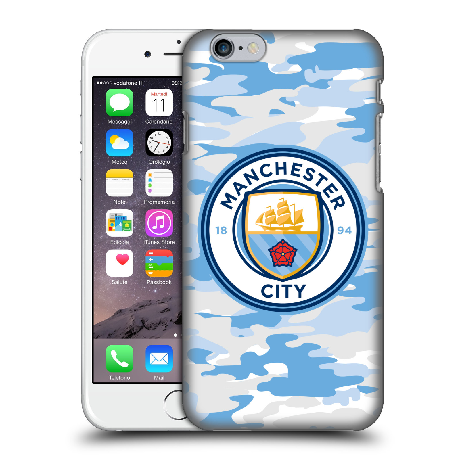 Manchester City FC MCFC Badge Camou-Light Blue Moon