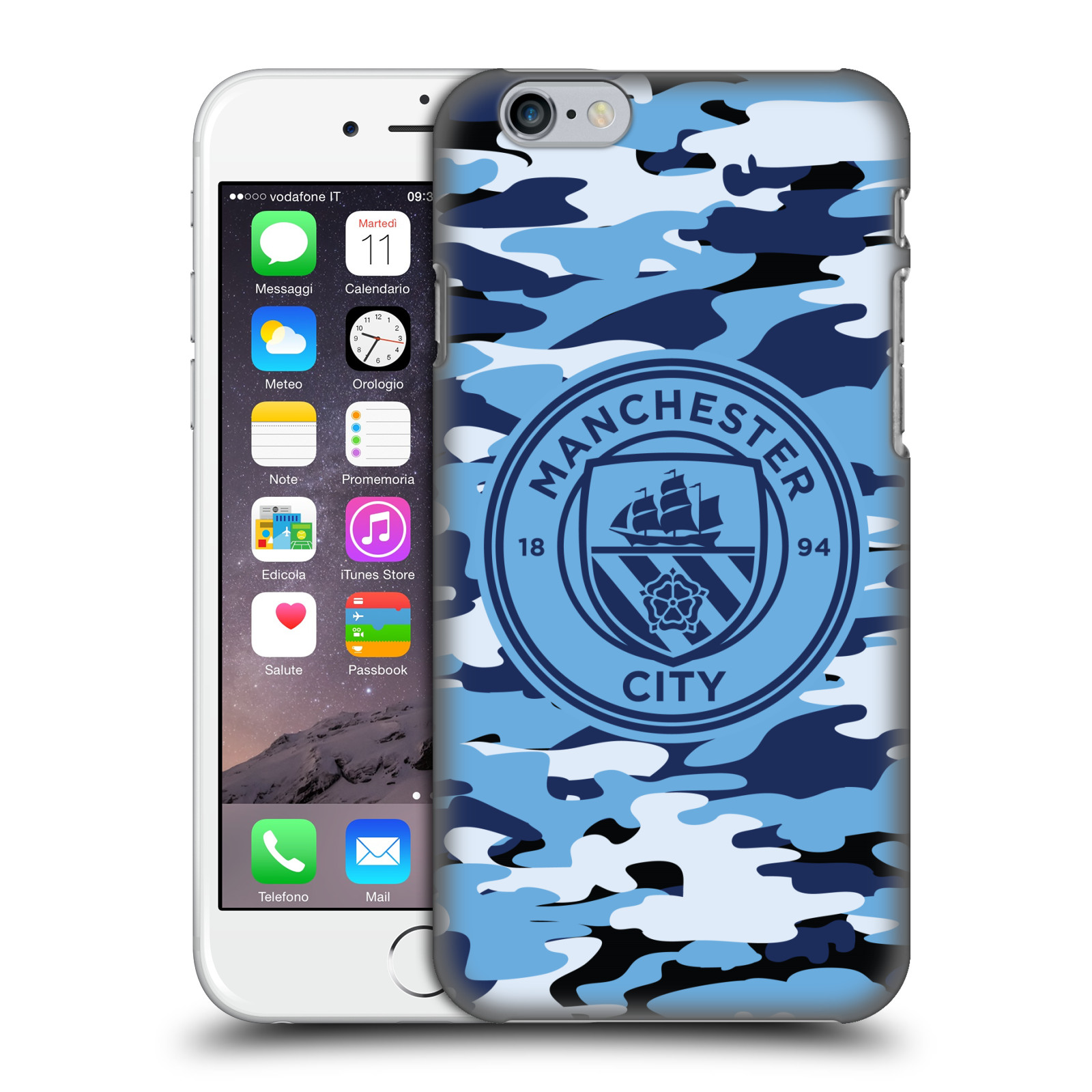Manchester City FC MCFC Badge Camou-Blue Moon Mono