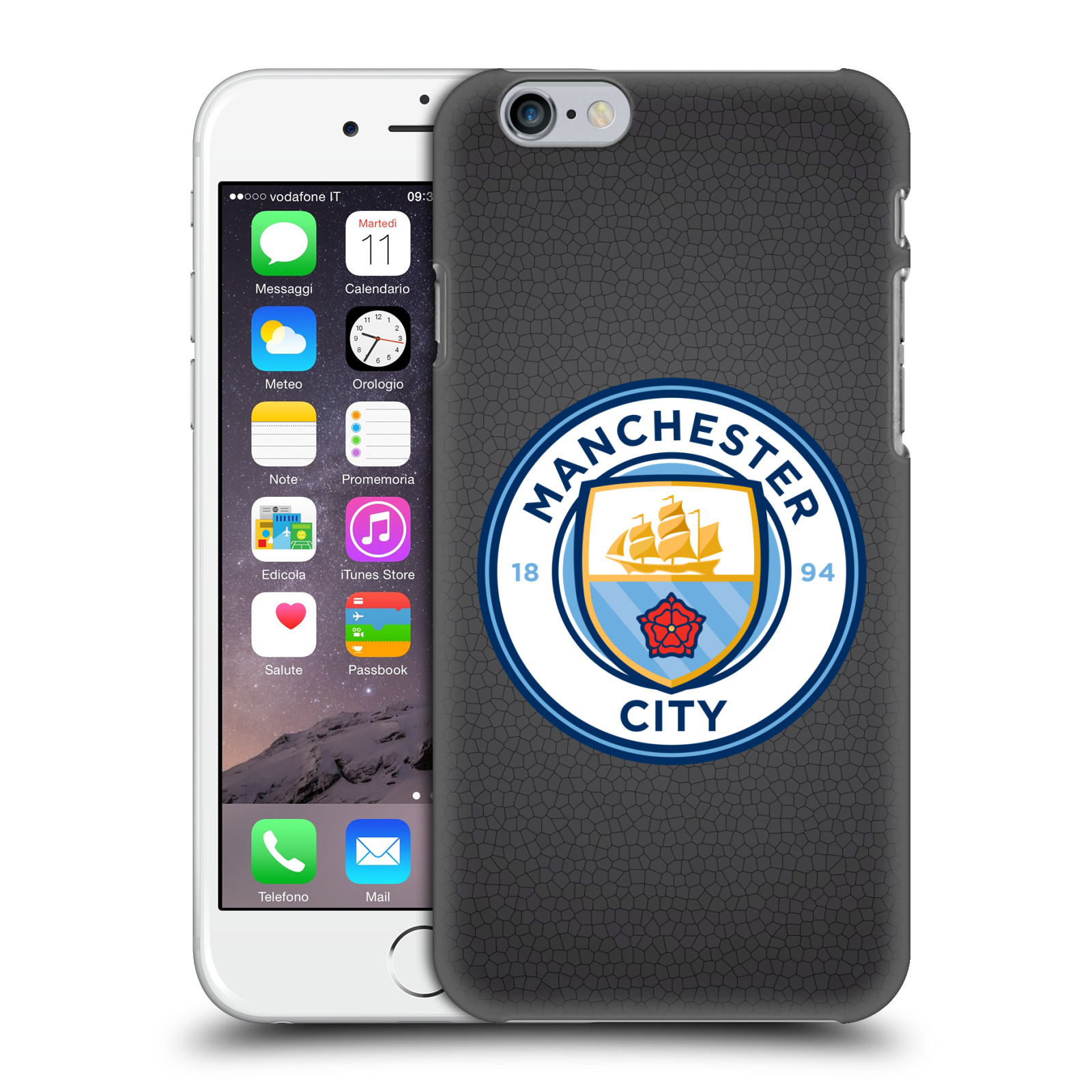 Manchester City FC MCFC Badge Pixels-Black Mosaic Full Colour