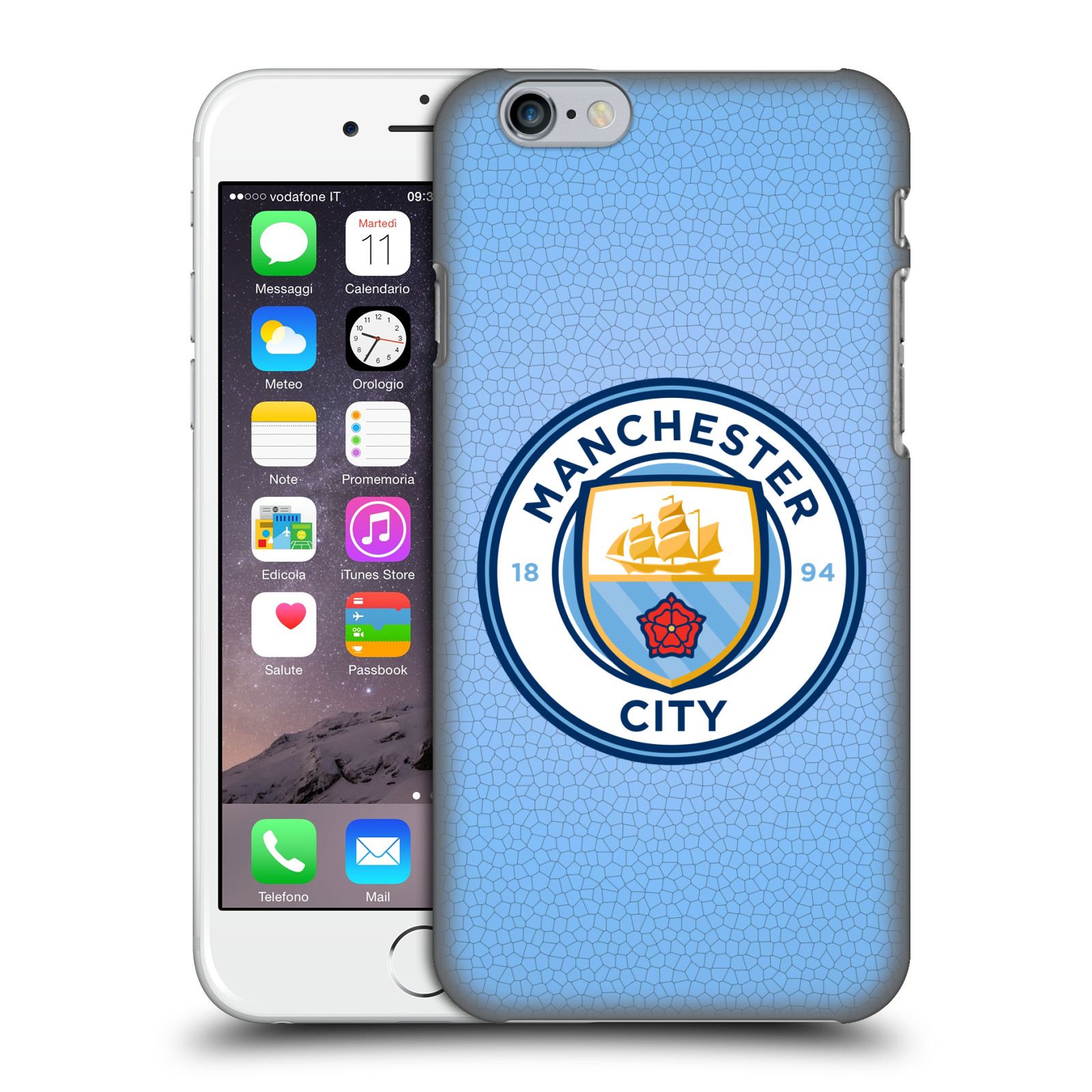 Manchester City FC MCFC Badge Pixels-Blue Mosaic Full Colour