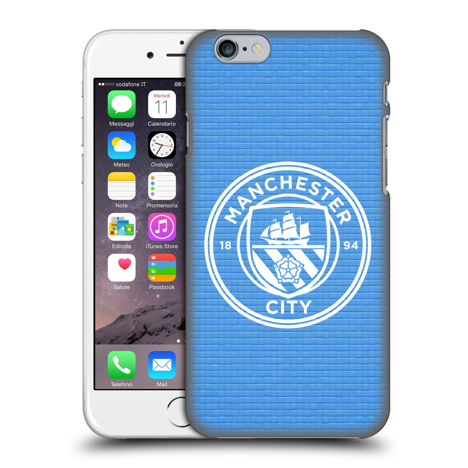 Manchester City FC MCFC Badge Pixels-Blue Tile White Mono
