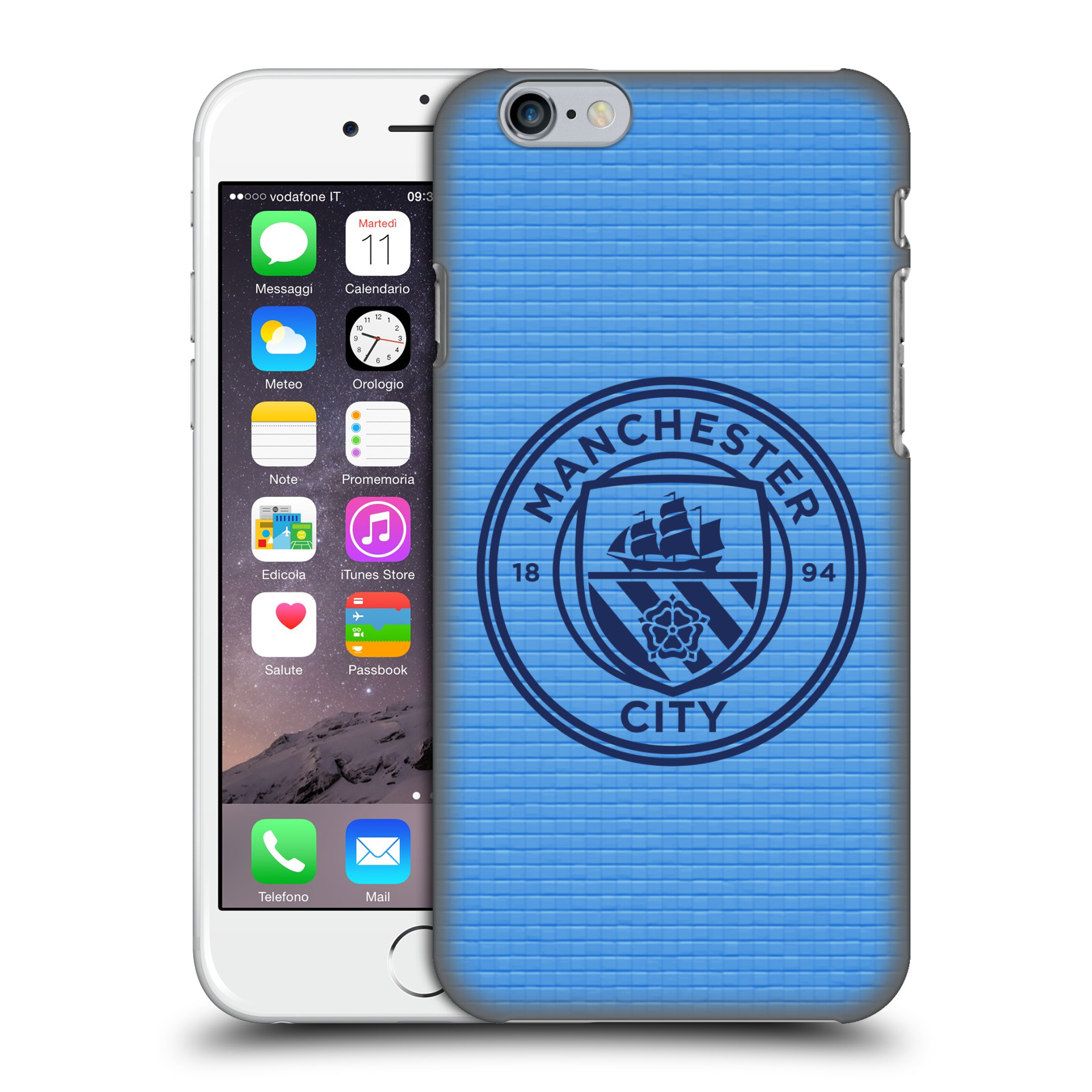 Manchester City FC MCFC Badge Pixels-Blue Tile Obsidian Mono
