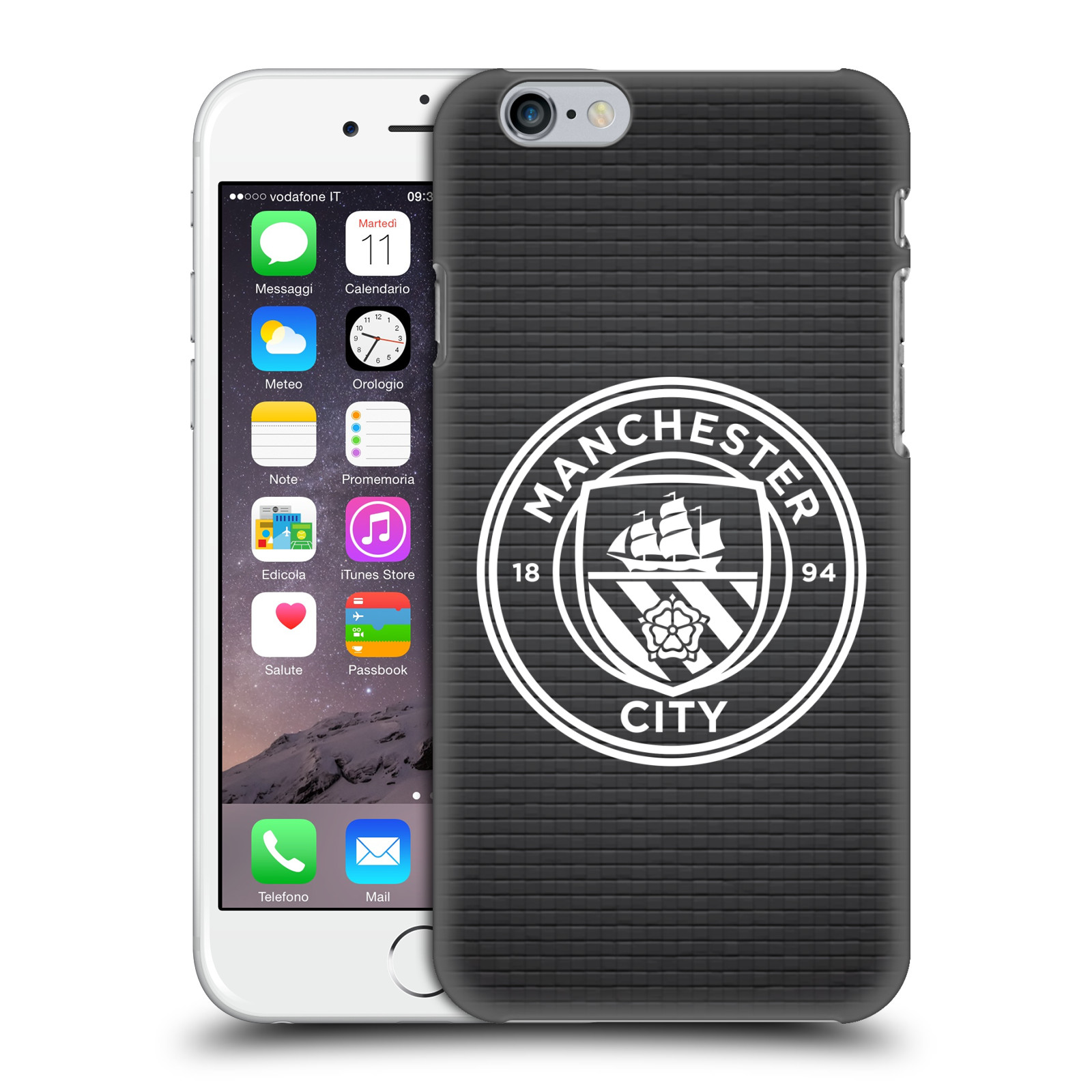 Manchester City FC MCFC Badge Pixels-Black Tile White Mono