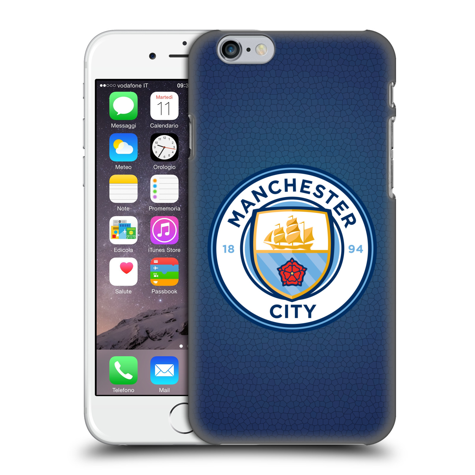 Manchester City FC MCFC Badge Pixels-Obsidian Mosaic Full Colour