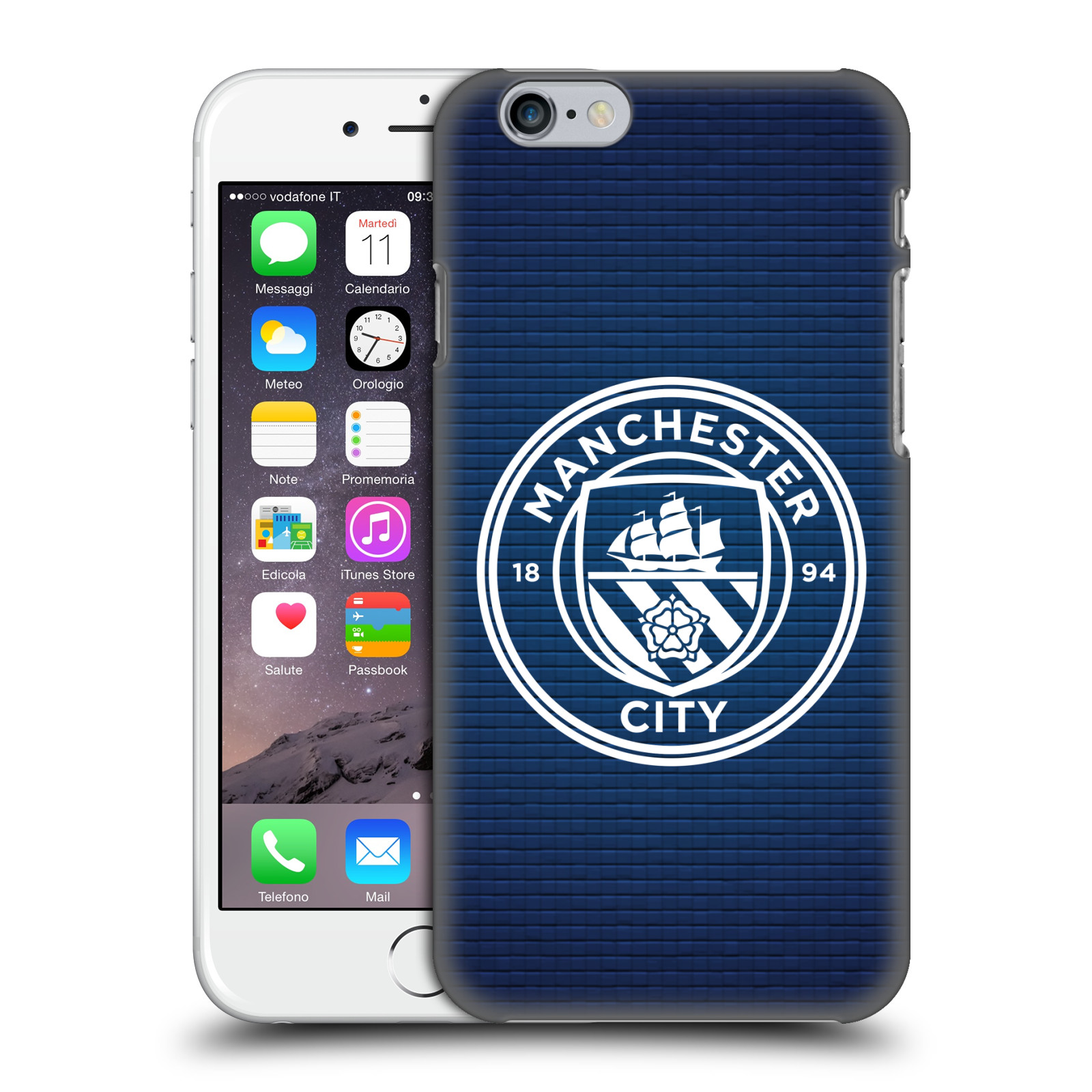 Manchester City FC MCFC Badge Pixels-Obsidian Tile White Mono