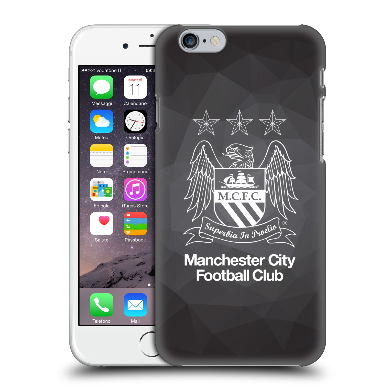 Manchester City FC MCFC Crest Geometric-Black Geo Outline White