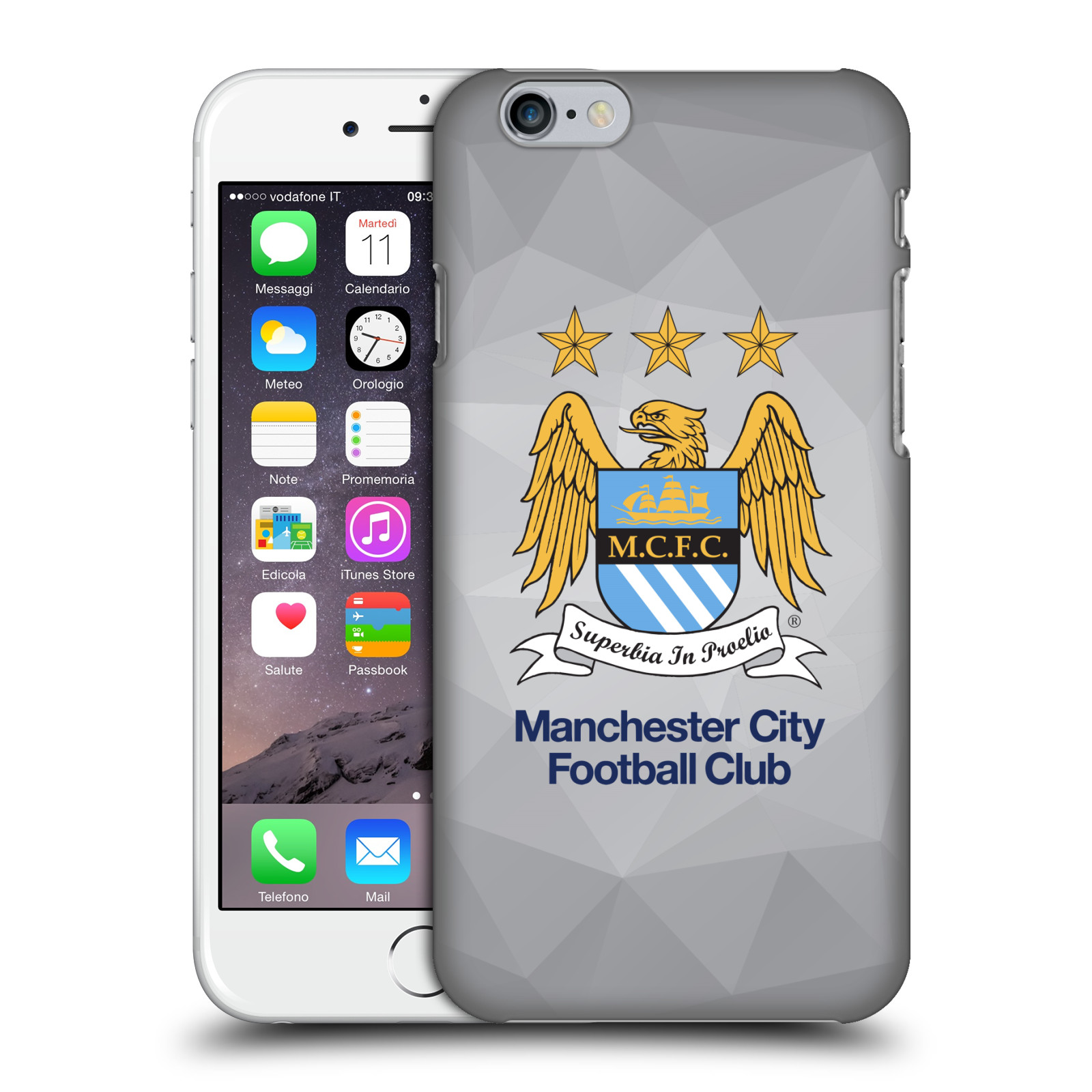 Manchester City FC MCFC Crest Geometric-Grey Full Colour