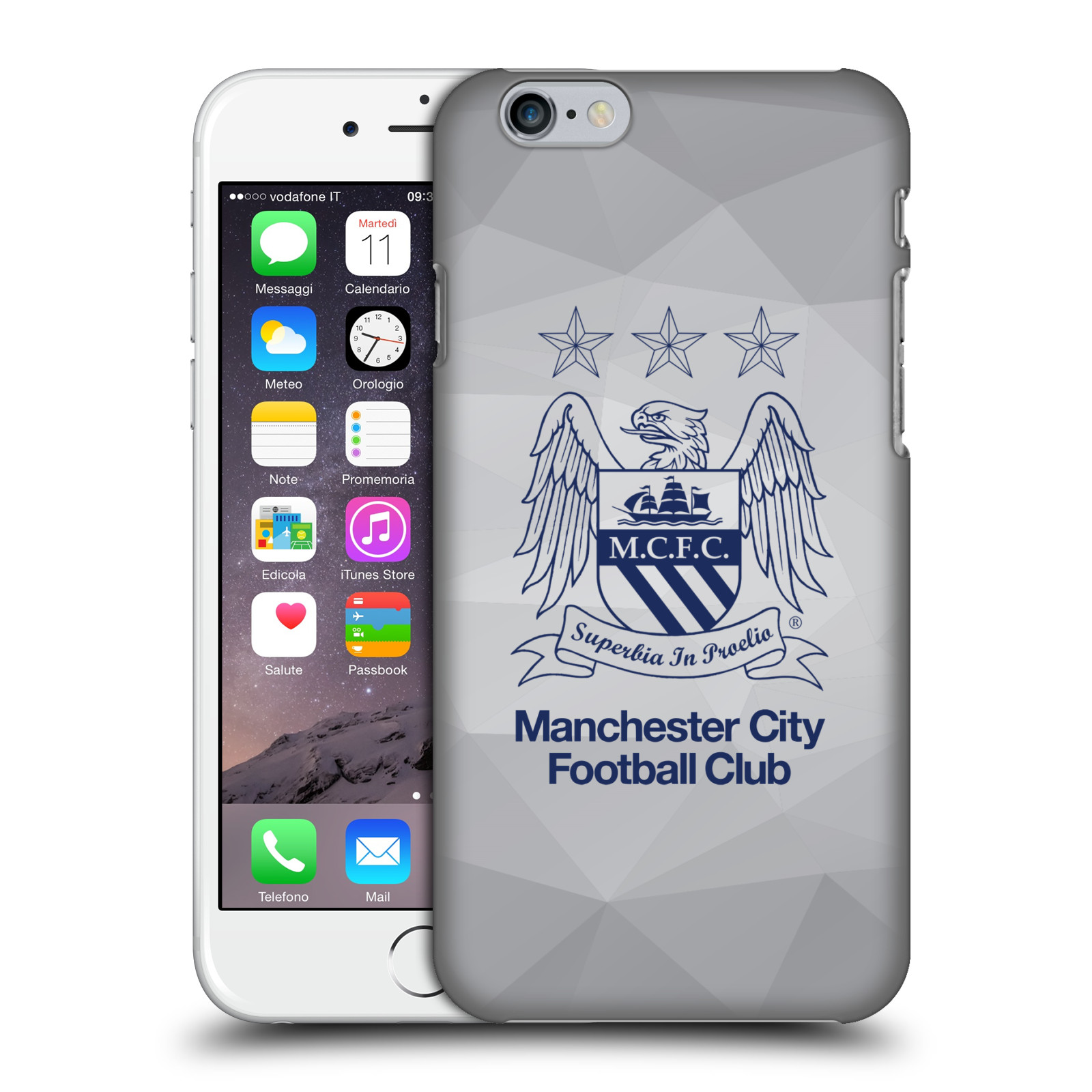 Manchester City FC MCFC Crest Geometric-Grey Outline Obsidian