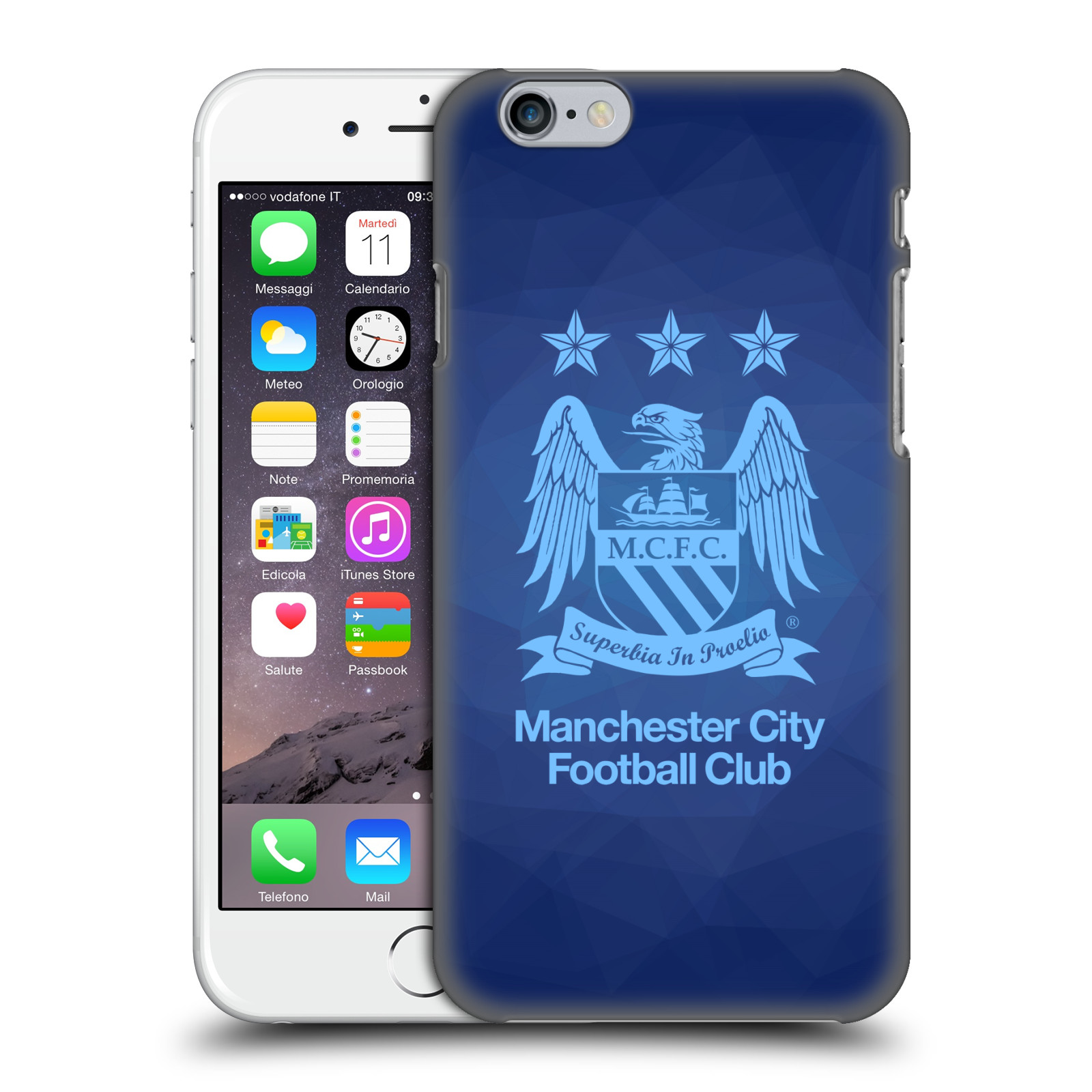 Manchester City FC MCFC Crest Geometric-Obsidian Full Sky Blue