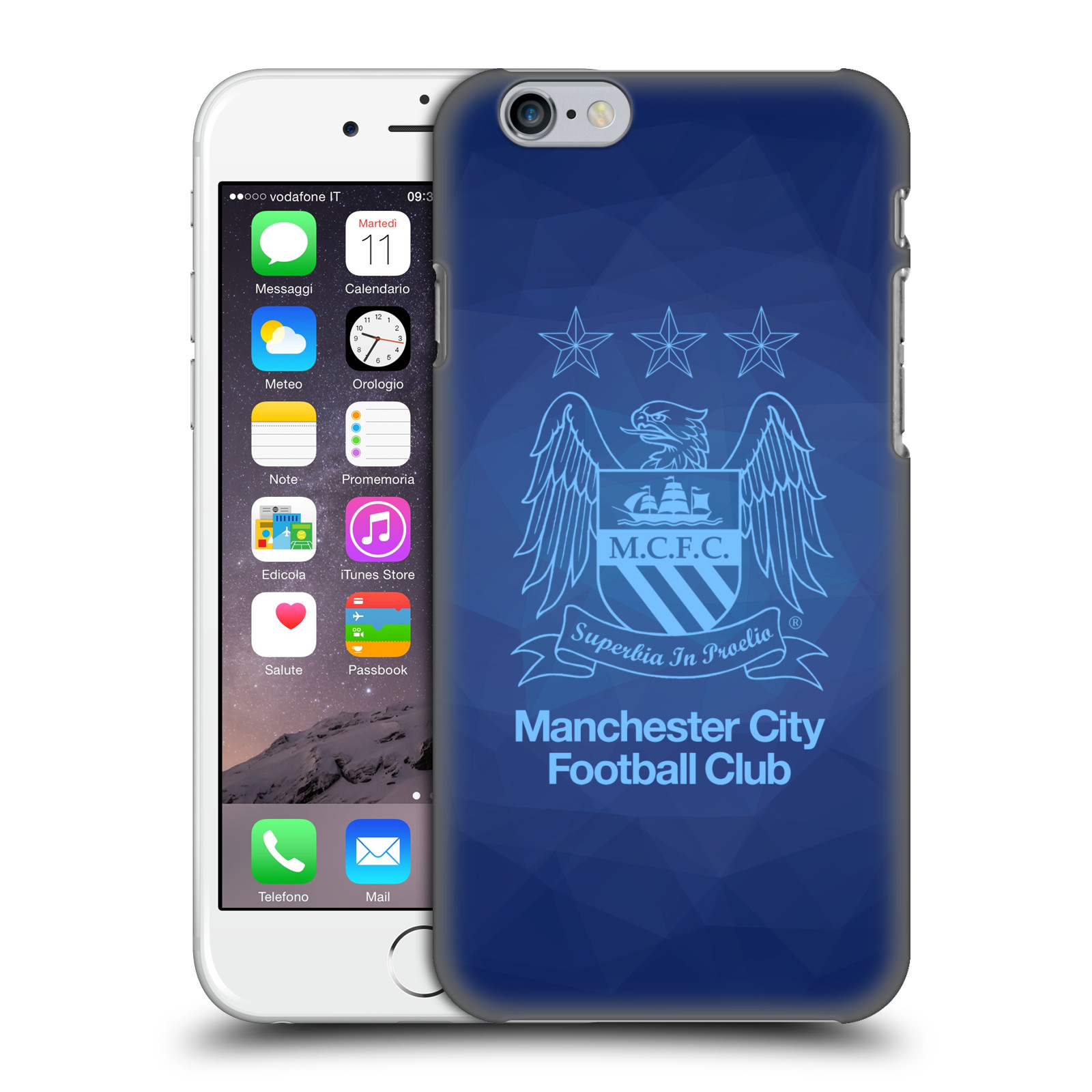 Manchester City FC MCFC Crest Geometric-Obsidian Outline Sky Blue