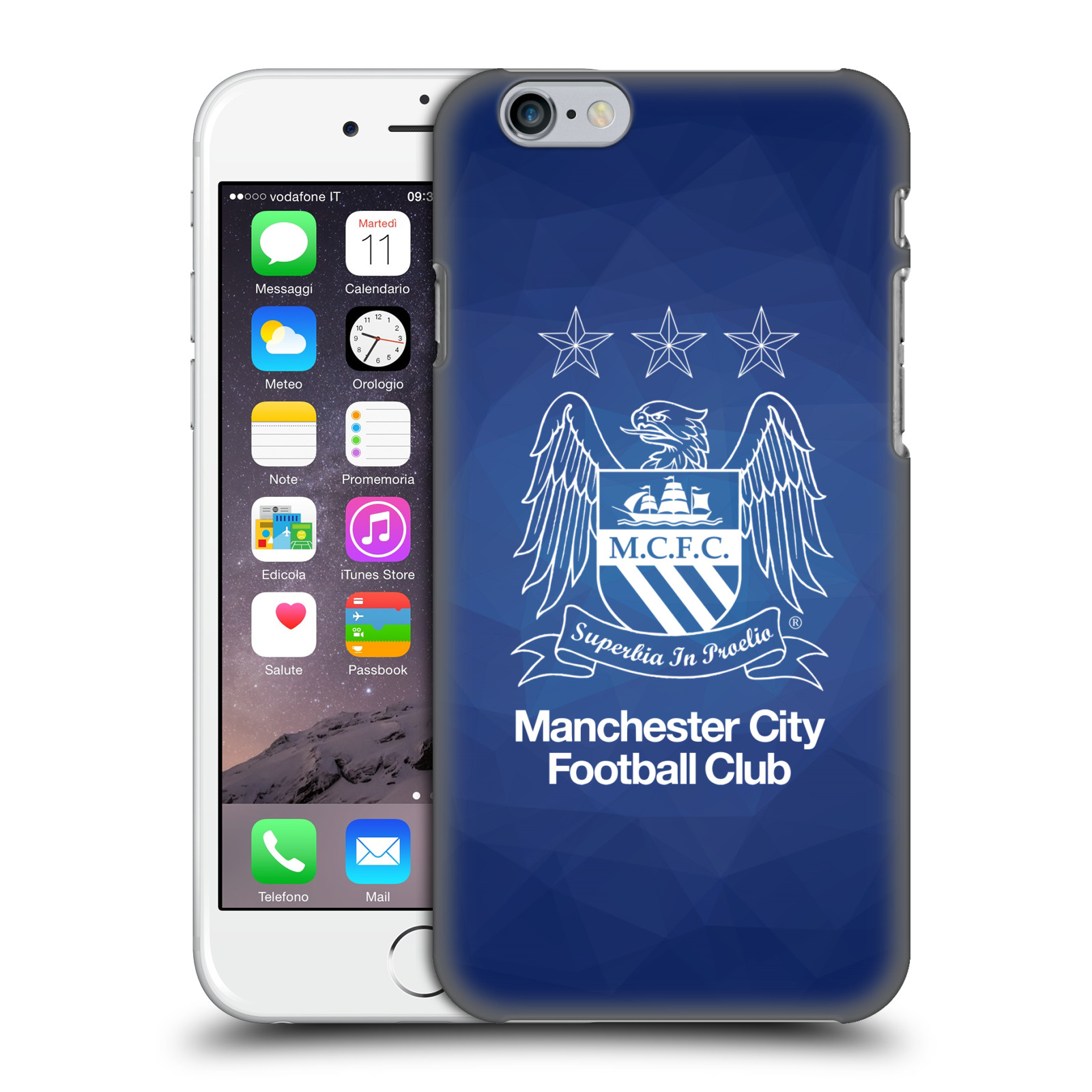 Manchester City FC MCFC Crest Geometric-Obsidian Outline White