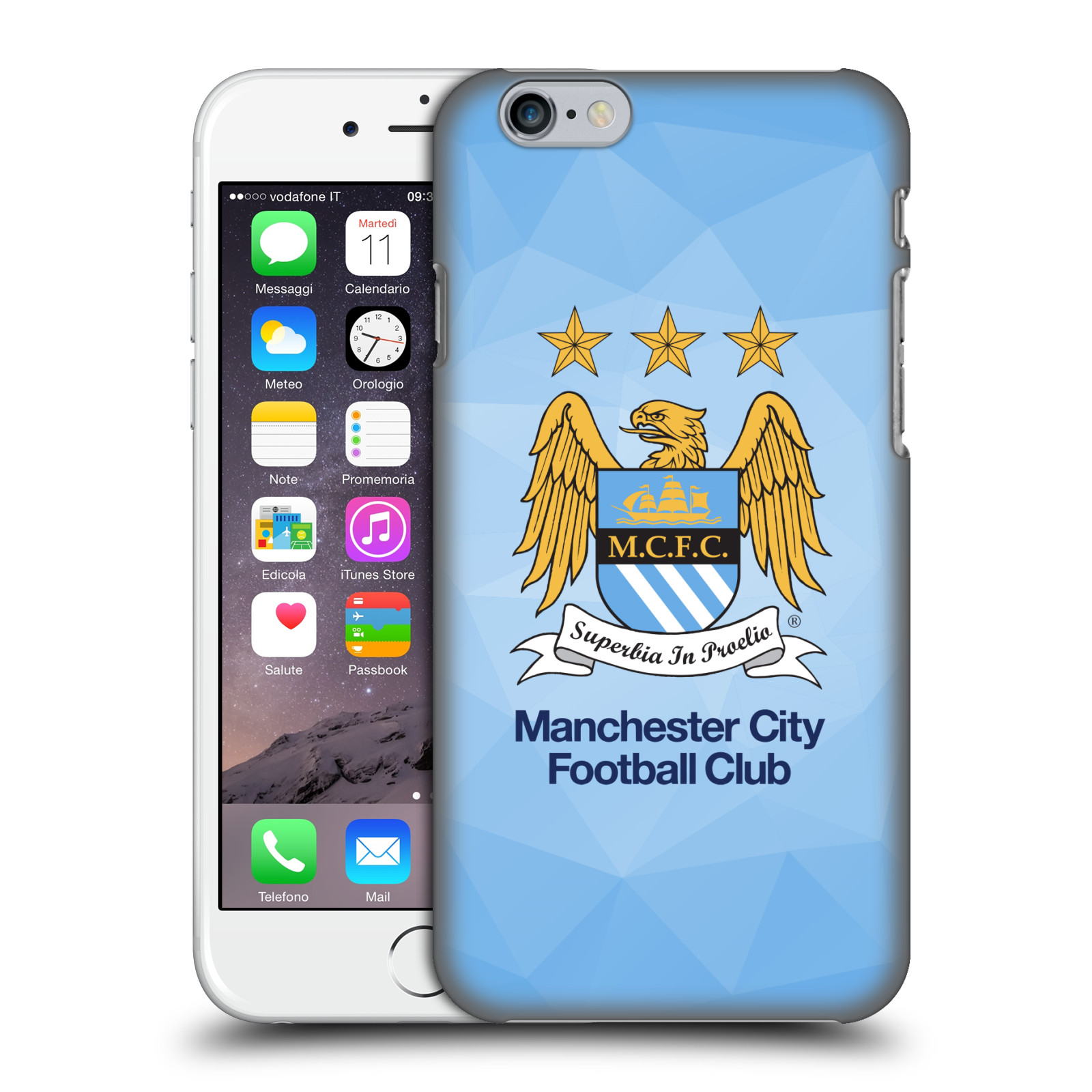 Manchester City FC MCFC Crest Geometric-Sky Geo Full Colour