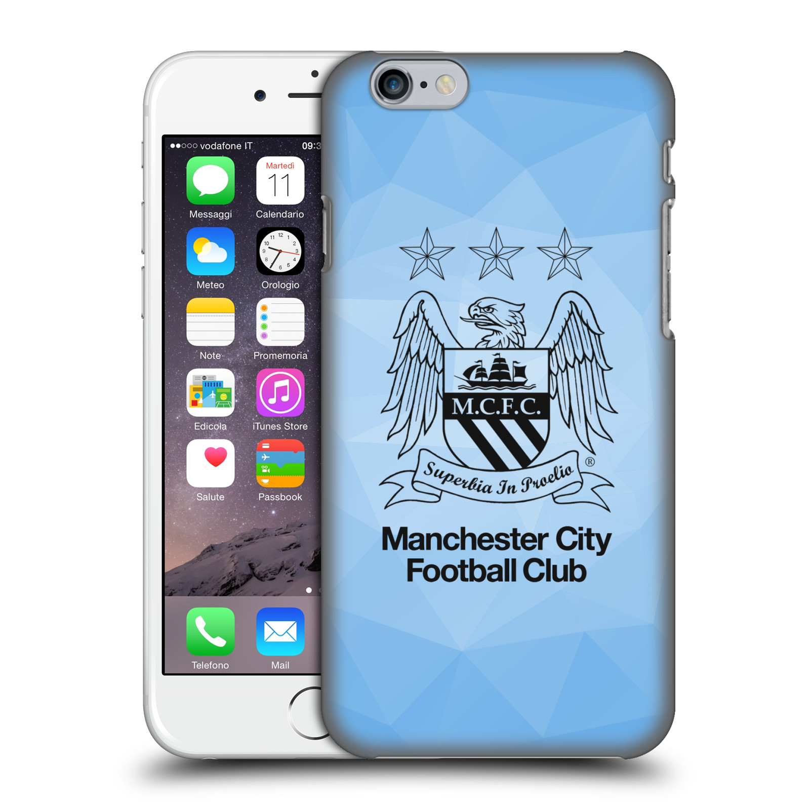 Manchester City FC MCFC Crest Geometric-Sky Geo Outline Black