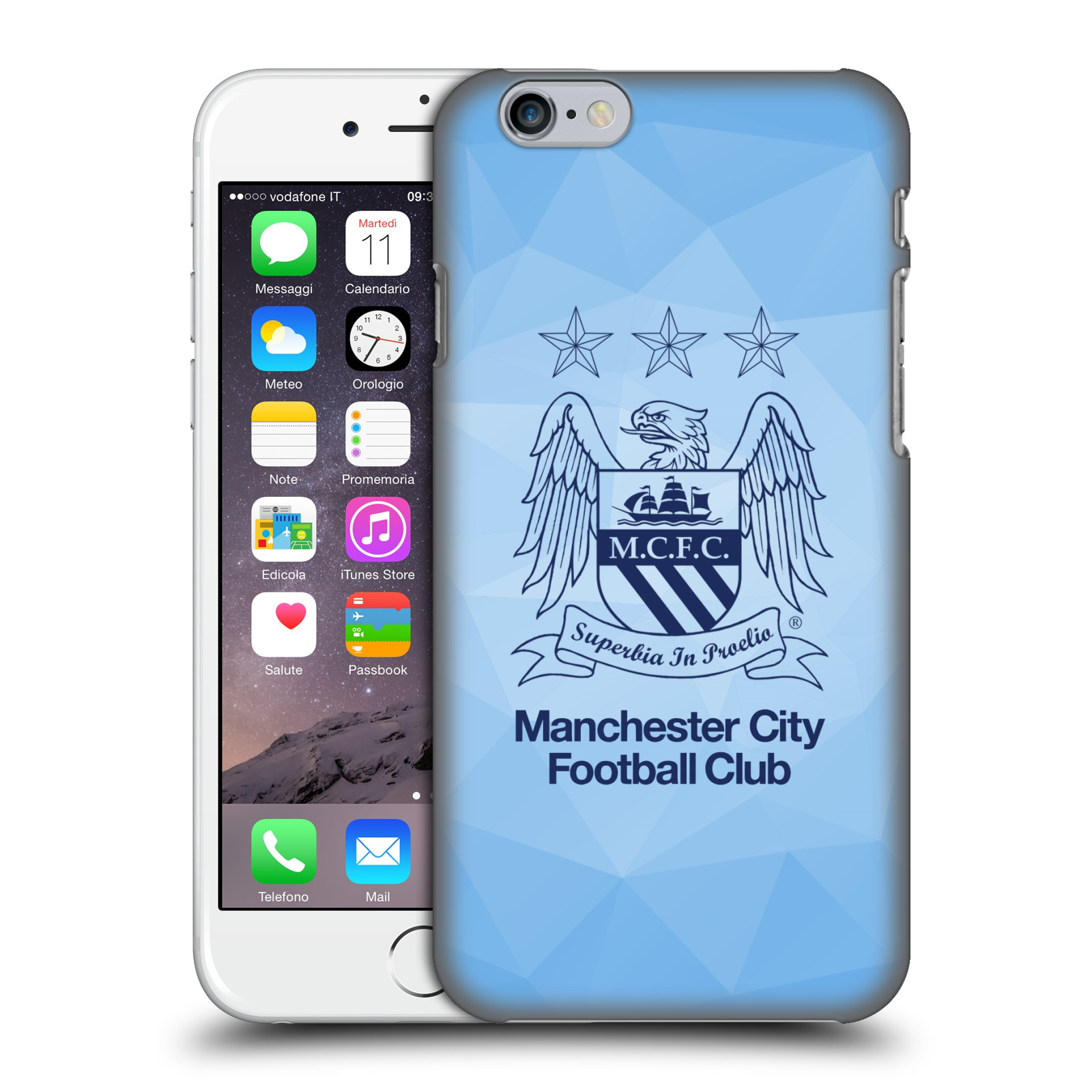 Manchester City FC MCFC Crest Geometric-Sky Geo Obsidian Outline