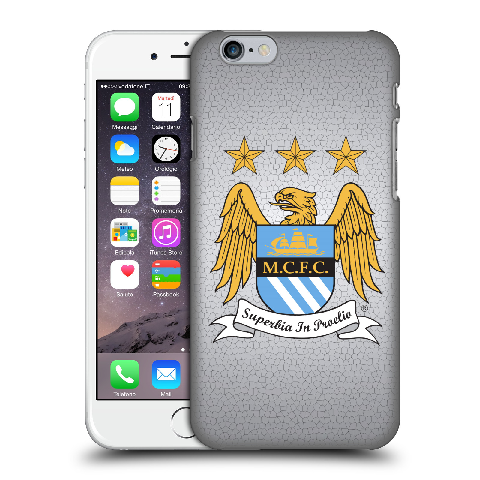 Manchester City FC MCFC Crest Pixels-Full Colour Mosaic on Grey