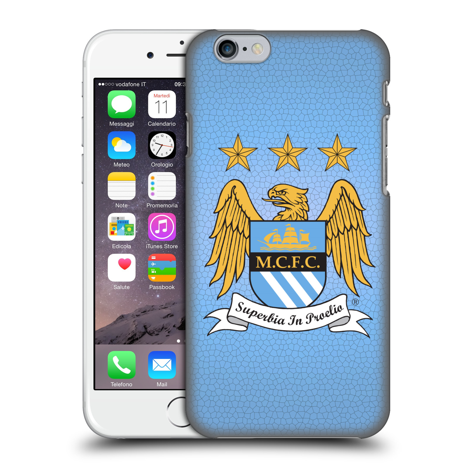 Manchester City FC MCFC Crest Pixels-Full Colour Sky Blue Mosaic