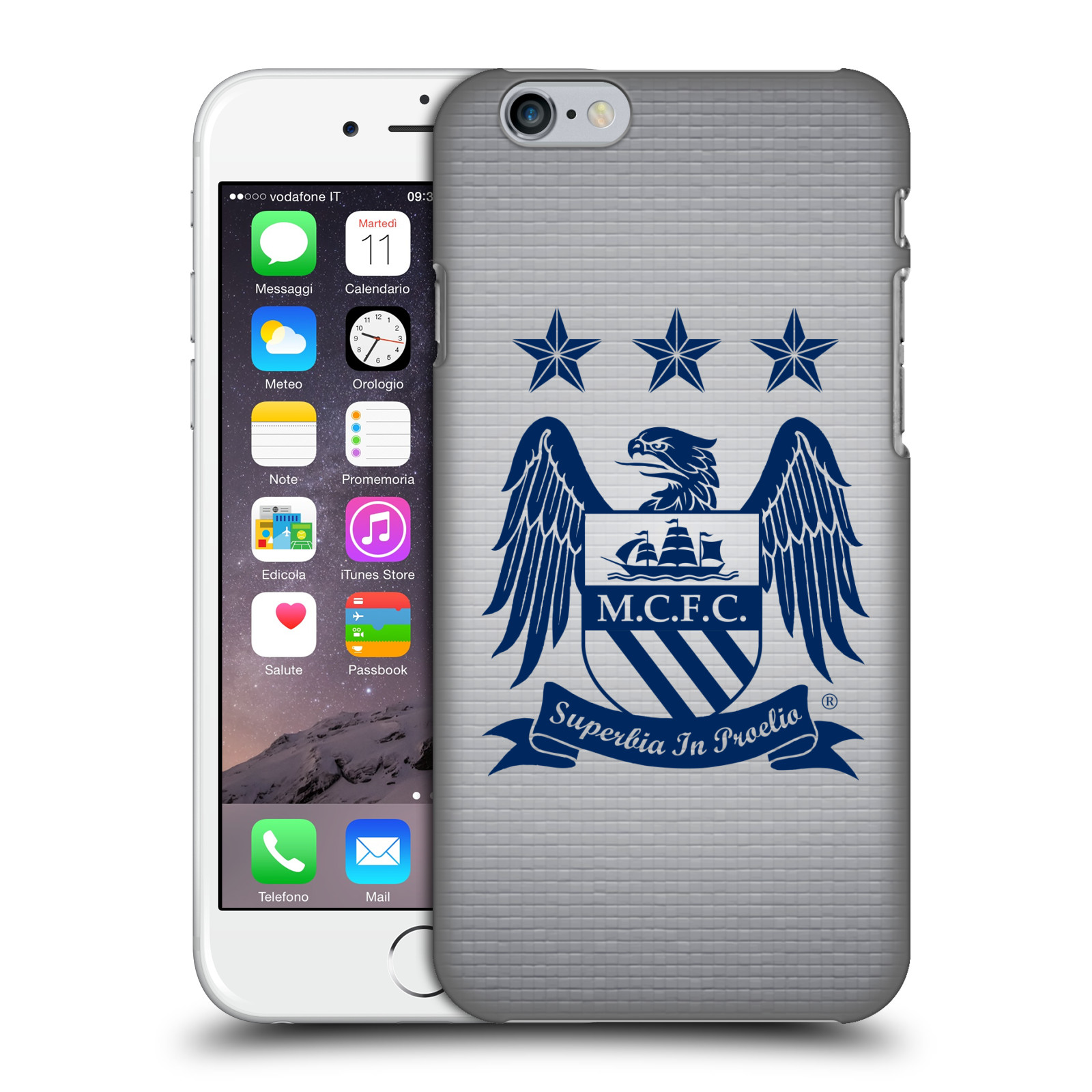 Manchester City FC MCFC Crest Pixels-Obsidian Cube on Grey