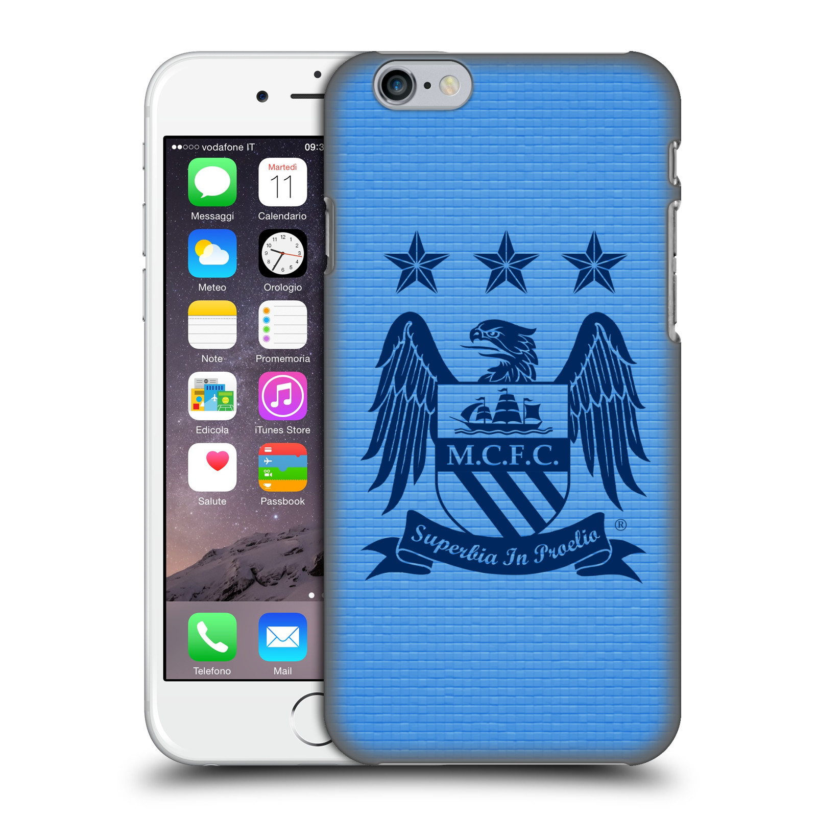 Manchester City FC MCFC Crest Pixels-Obsidian Cube on Sky Blue