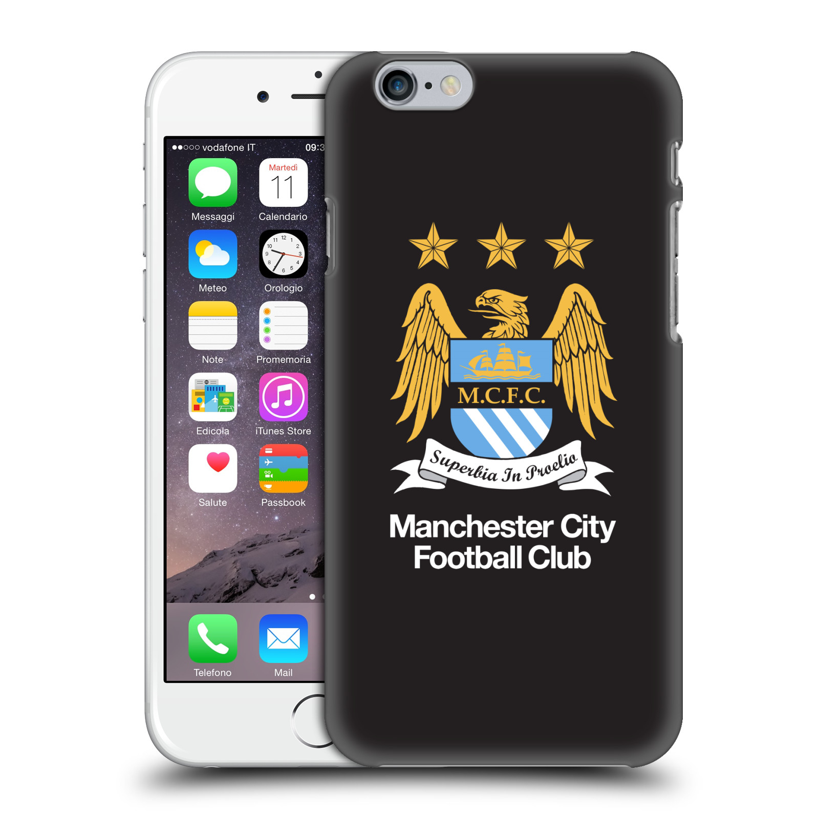 Manchester City FC MCFC Crest-Full Colour on Black