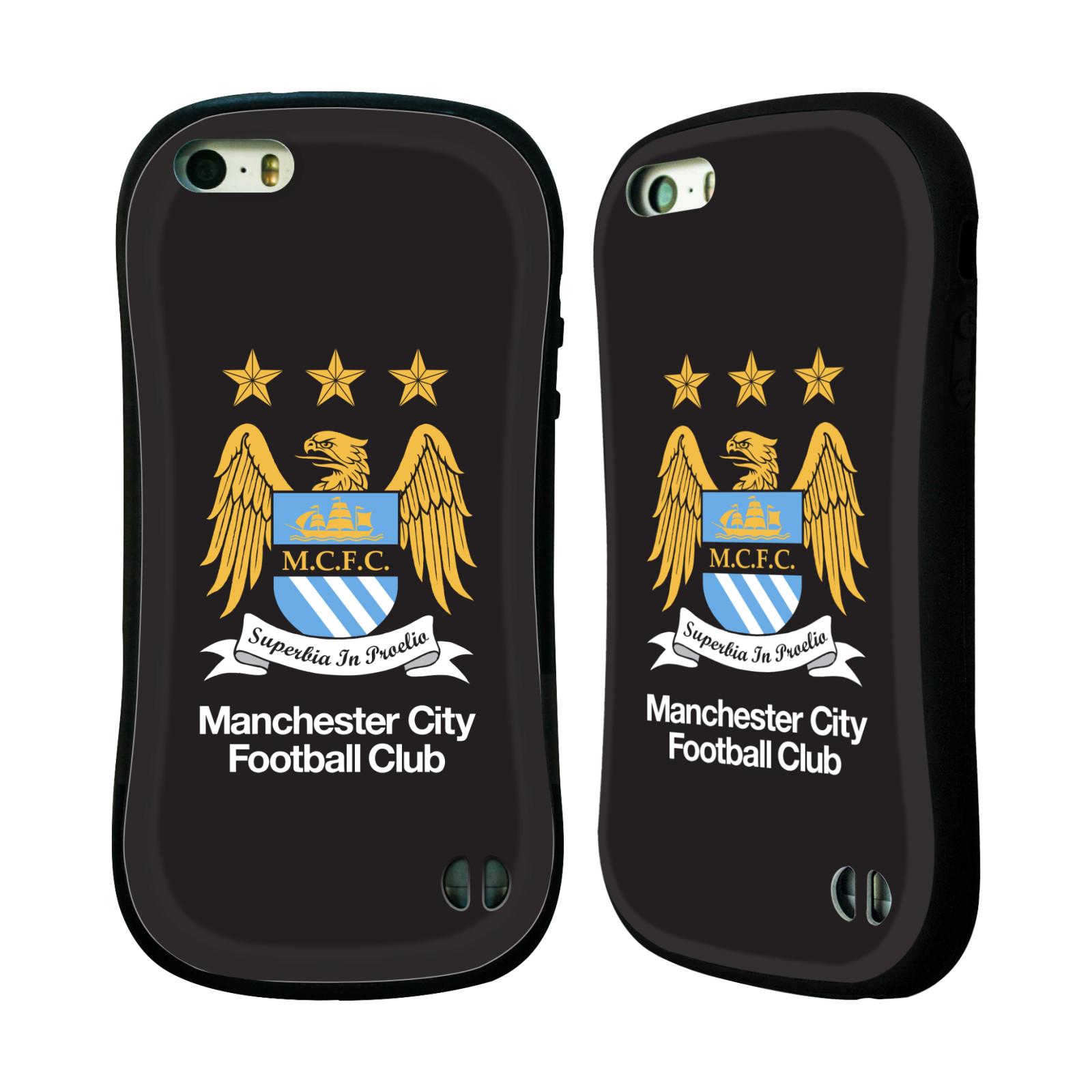 HEAD CASE silikon/plast odolný obal na mobil Apple Iphone 5 / 5S Fotbal Oficiální znak Manchester City černé pozadí