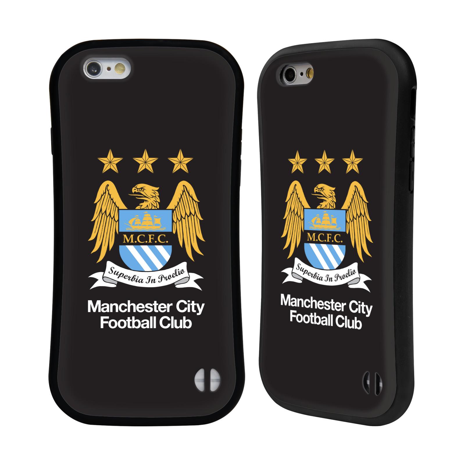 HEAD CASE silikon/plast odolný obal na mobil Apple Iphone 6/6S Fotbal Oficiální znak Manchester City černé pozadí