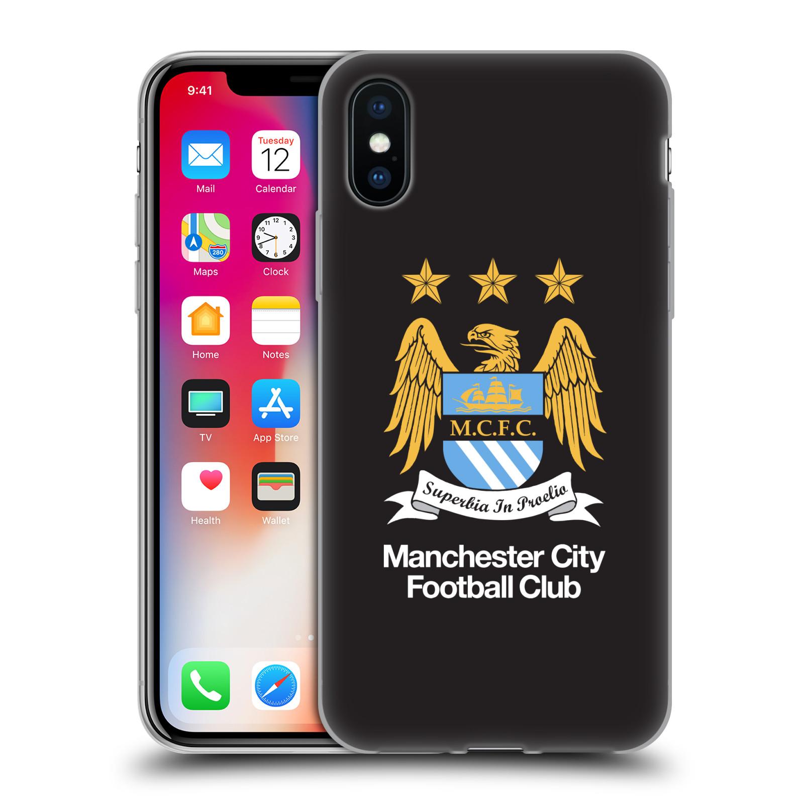 HEAD CASE silikonový obal na mobil Apple Iphone X Fotbalový klub Manchester City černé pozadí velký znak
