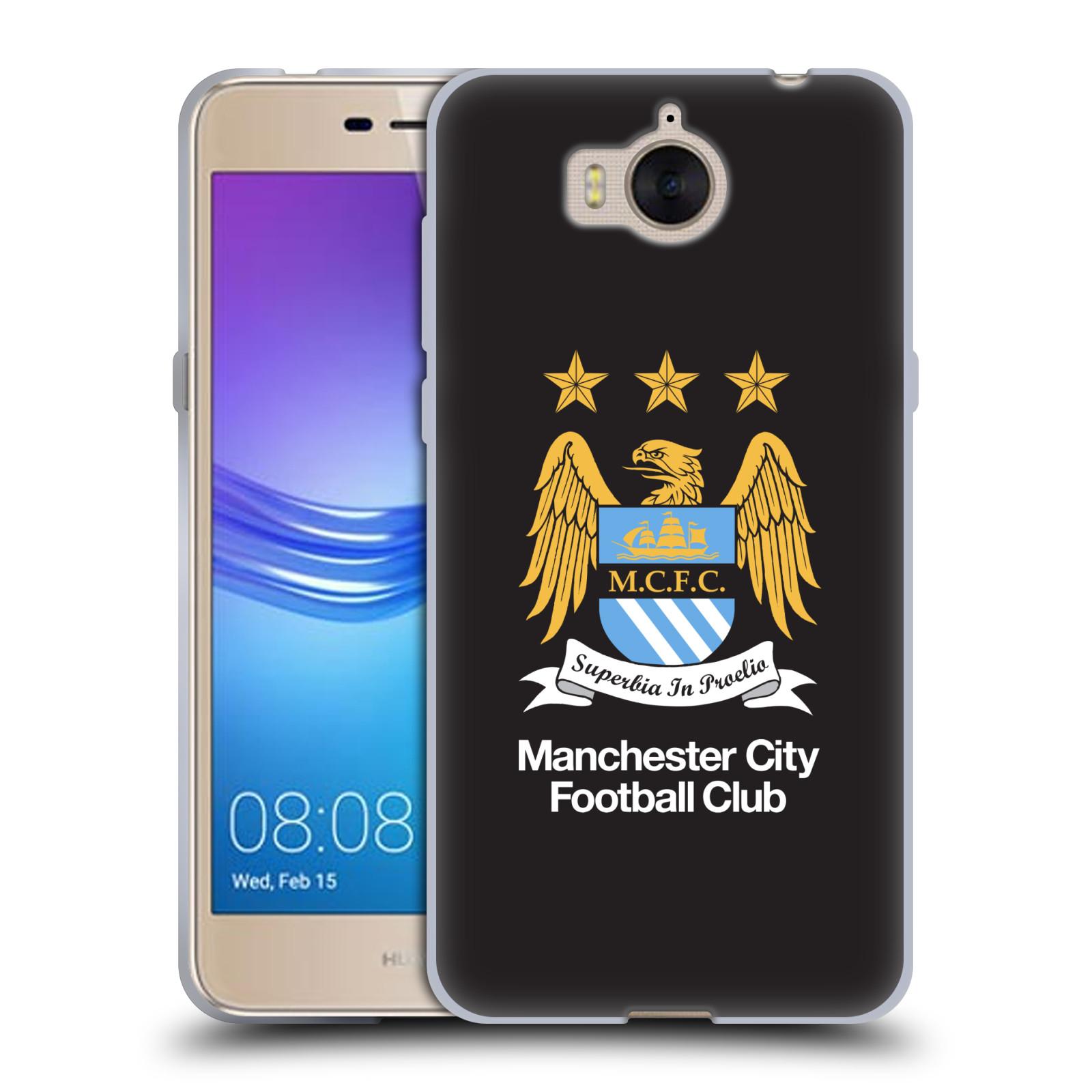 HEAD CASE silikonový obal na mobil Huawei Y5 2017 Fotbalový klub Manchester City černé pozadí velký znak
