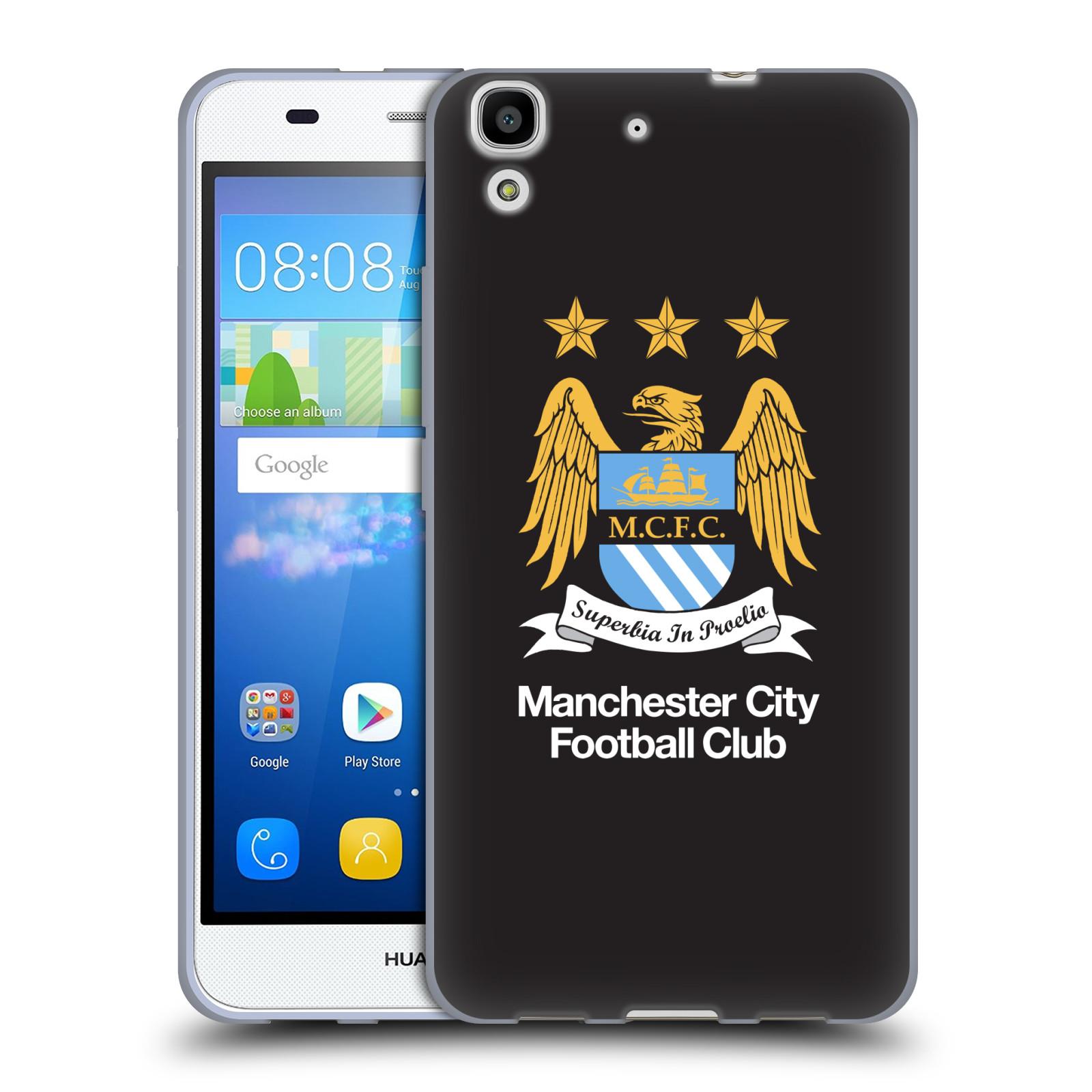 HEAD CASE silikonový obal na mobil Huawei Y6 Fotbalový klub Manchester City černé pozadí velký znak