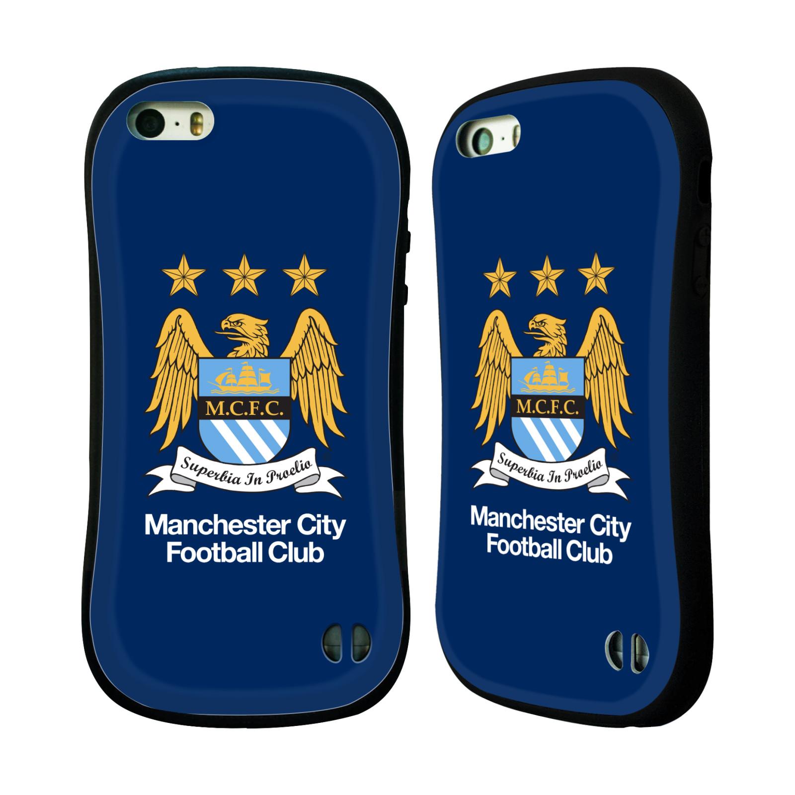 HEAD CASE silikon/plast odolný obal na mobil Apple Iphone 5 / 5S Oficiální znak Manchester City tmavě modré pozadí