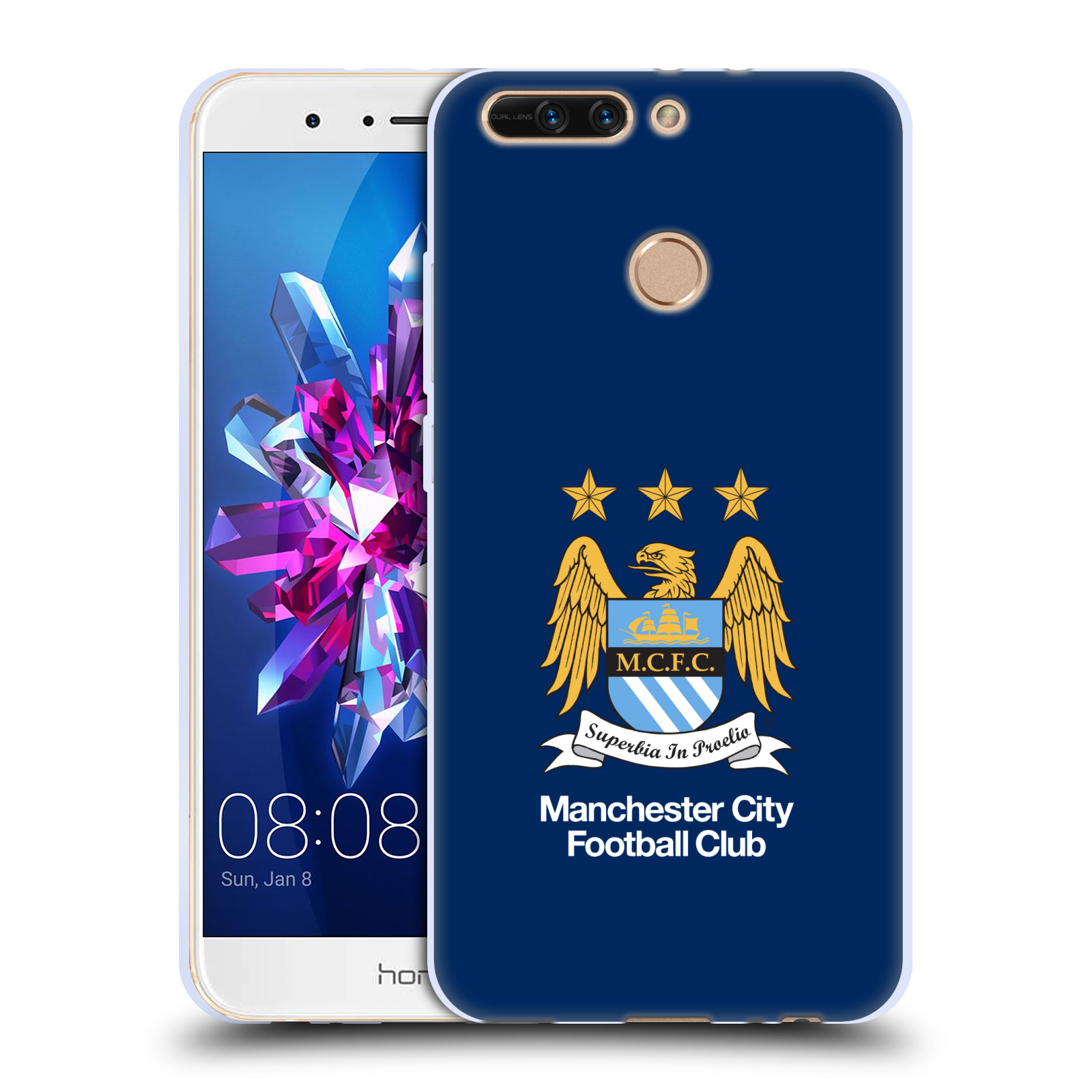 HEAD CASE silikonový obal na mobil Huawei HONOR 8 PRO / Honor 8 PRO DUAL SIM Fotbalový klub Manchester City modré pozadí velký znak