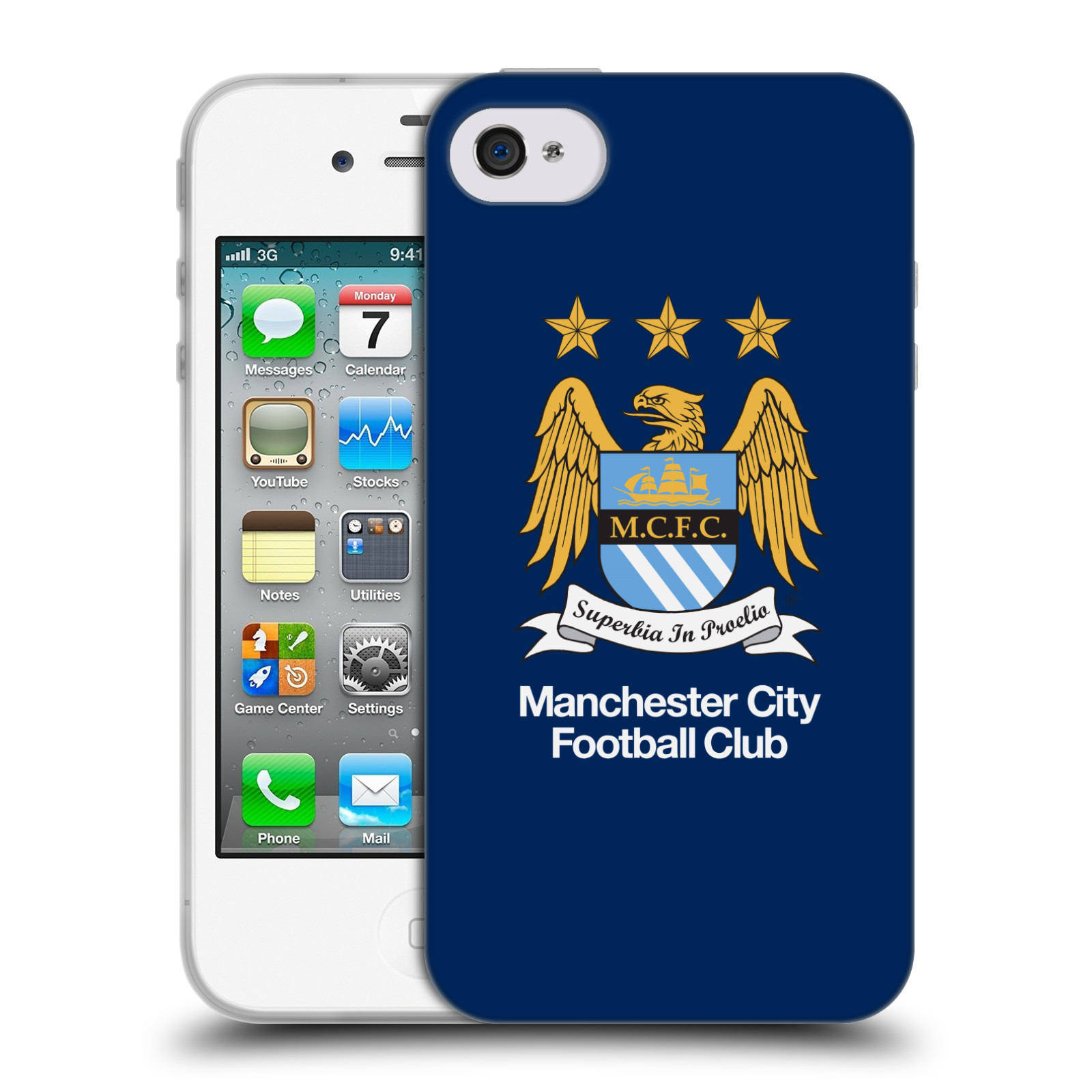 HEAD CASE silikonový obal na mobil Apple Iphone 4 Fotbalový klub Manchester City modré pozadí velký znak