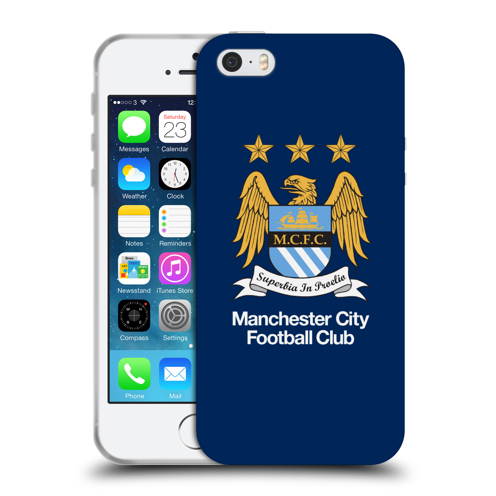 HEAD CASE silikonový obal na mobil Apple Iphone 5/5S Fotbalový klub Manchester City modré pozadí velký znak