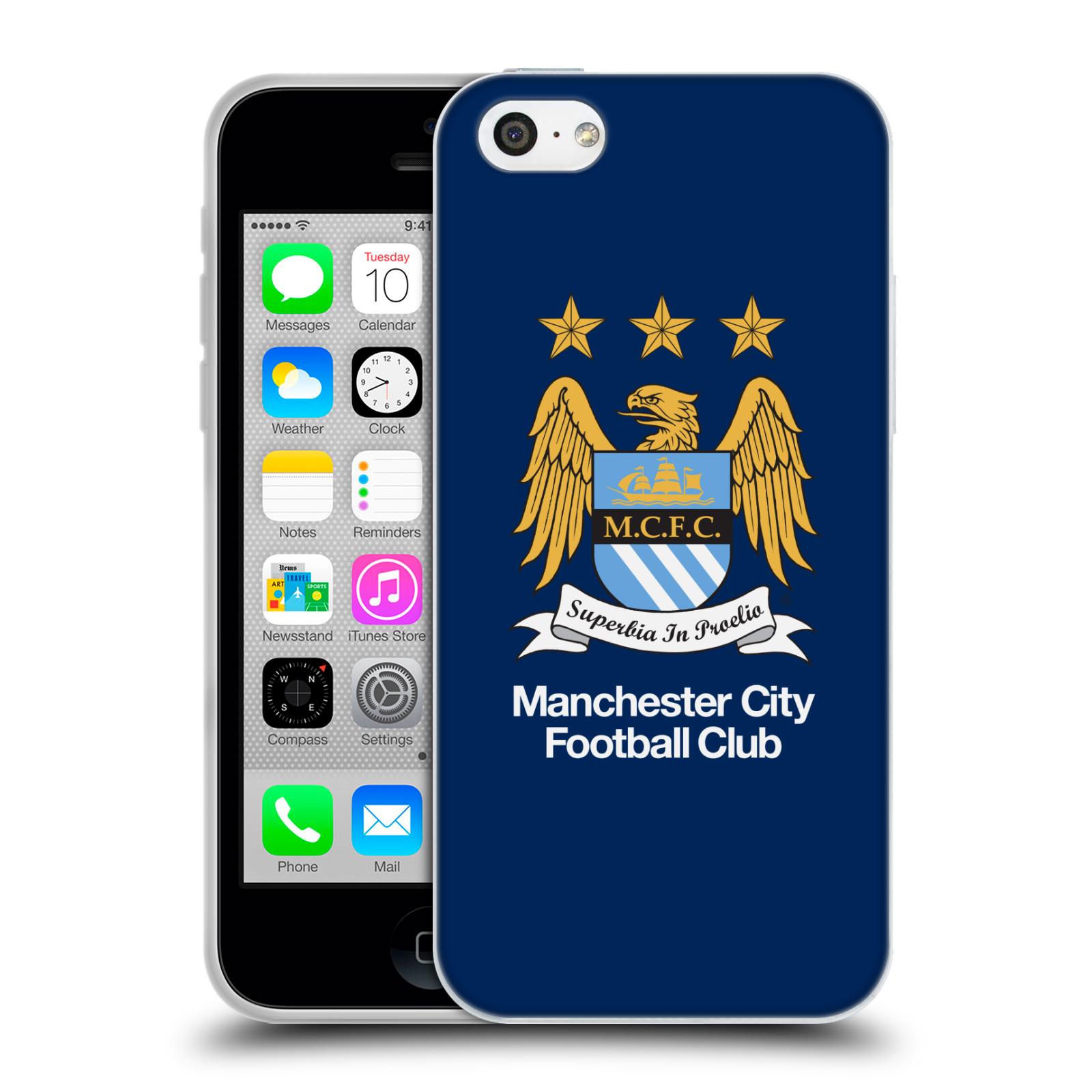 HEAD CASE silikonový obal na mobil Apple Iphone 5C Fotbalový klub Manchester City modré pozadí velký znak